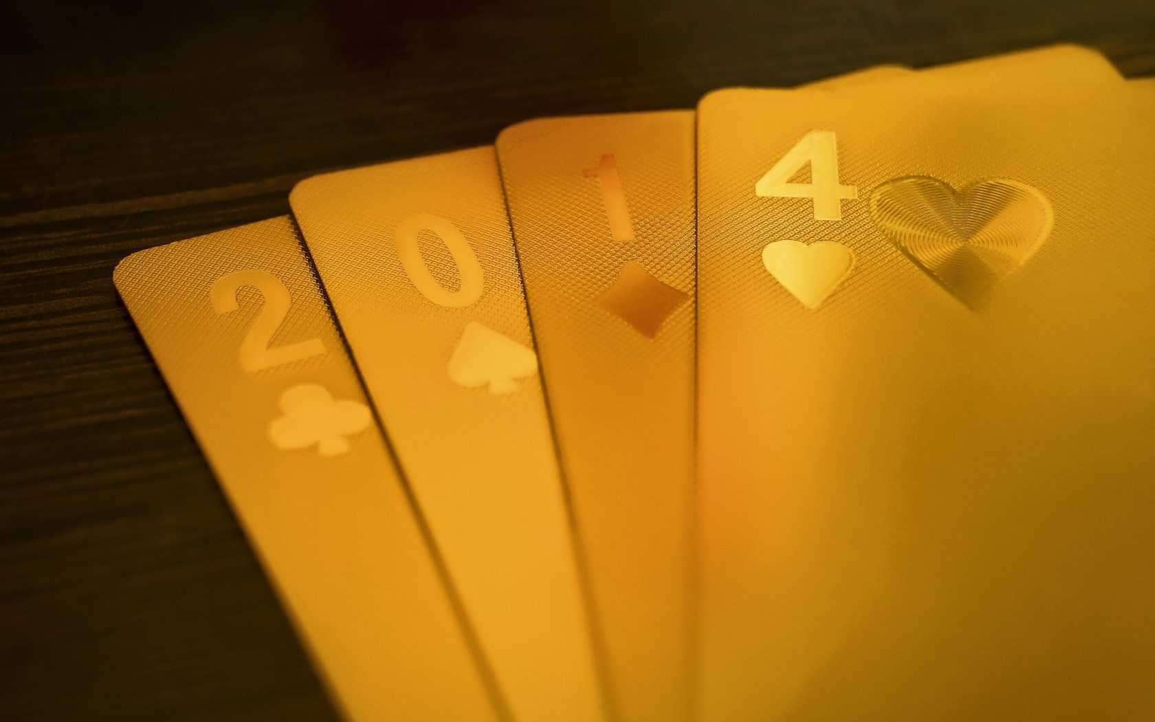 2014 New Year Cards Poker Game Gold Luxury