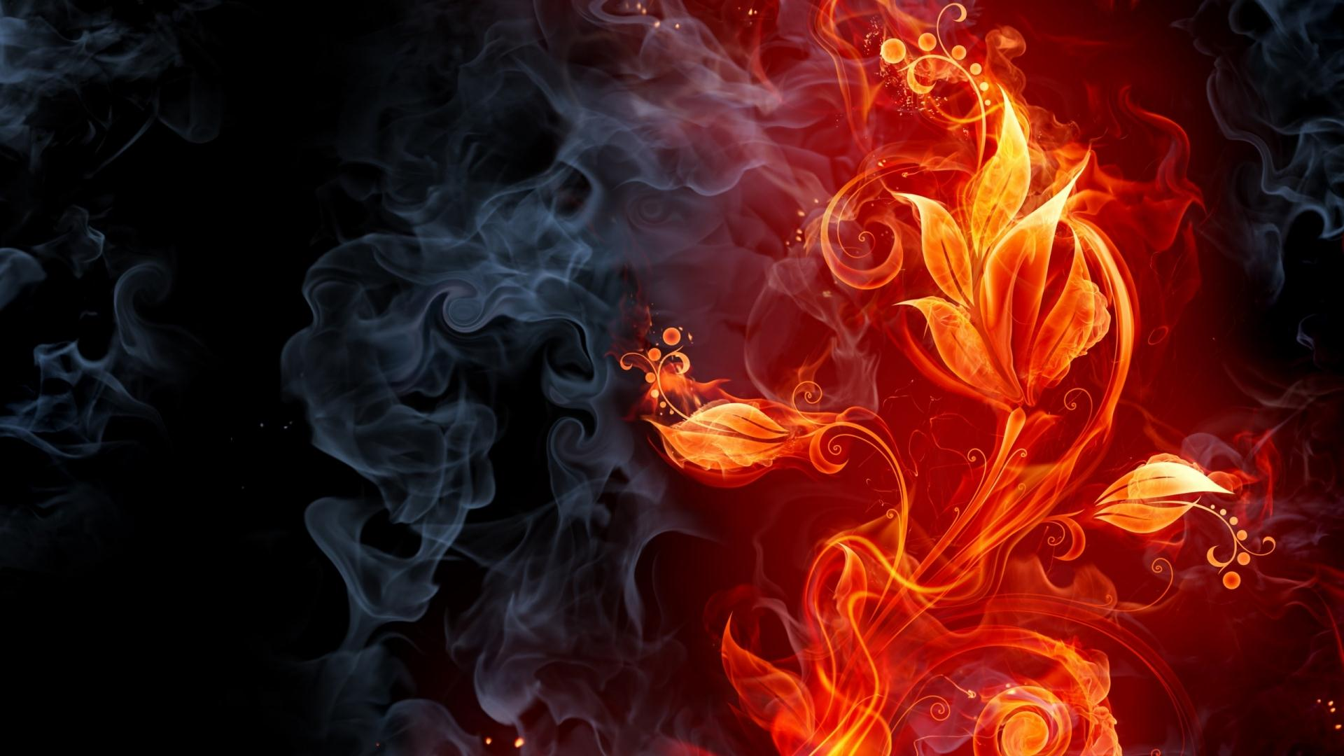 3D Abstract Fire Flowers Wallpaper