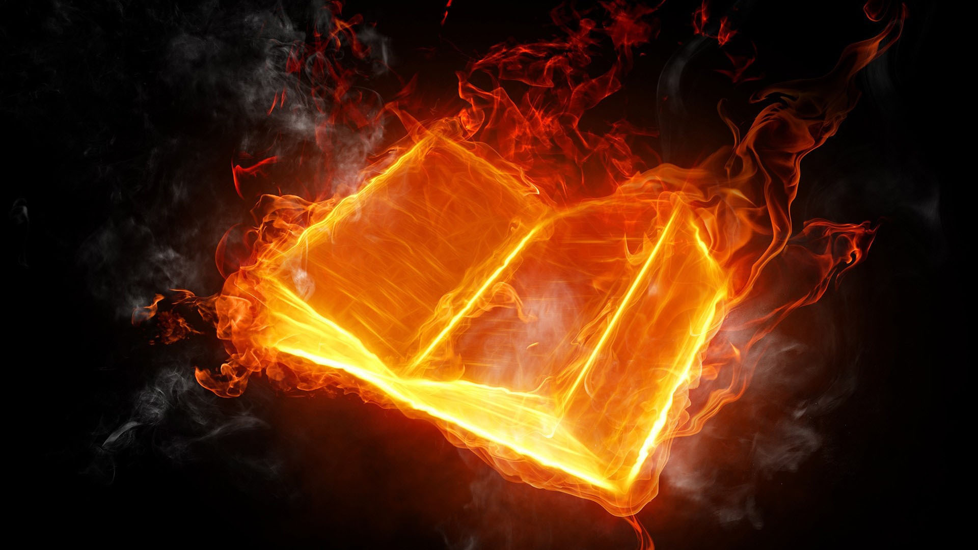3D Fire Book Image - 3D HD Wallpaper