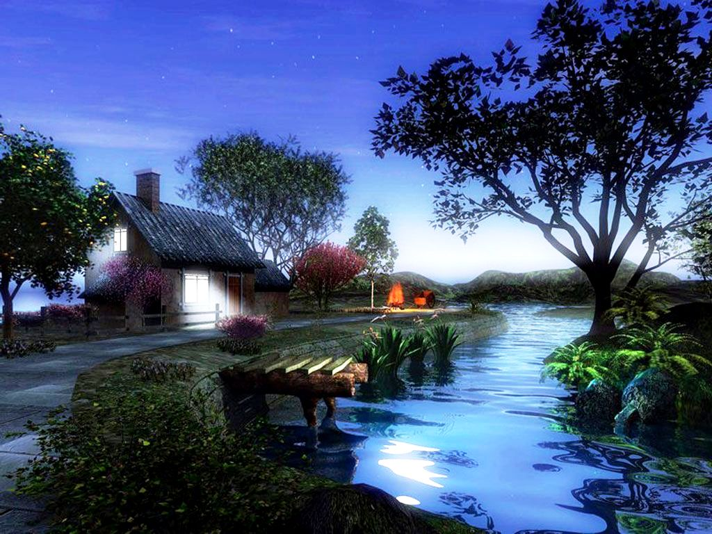 Free D Wallpaper For Desktop : Beautiful 3D Home and River Wallpaper