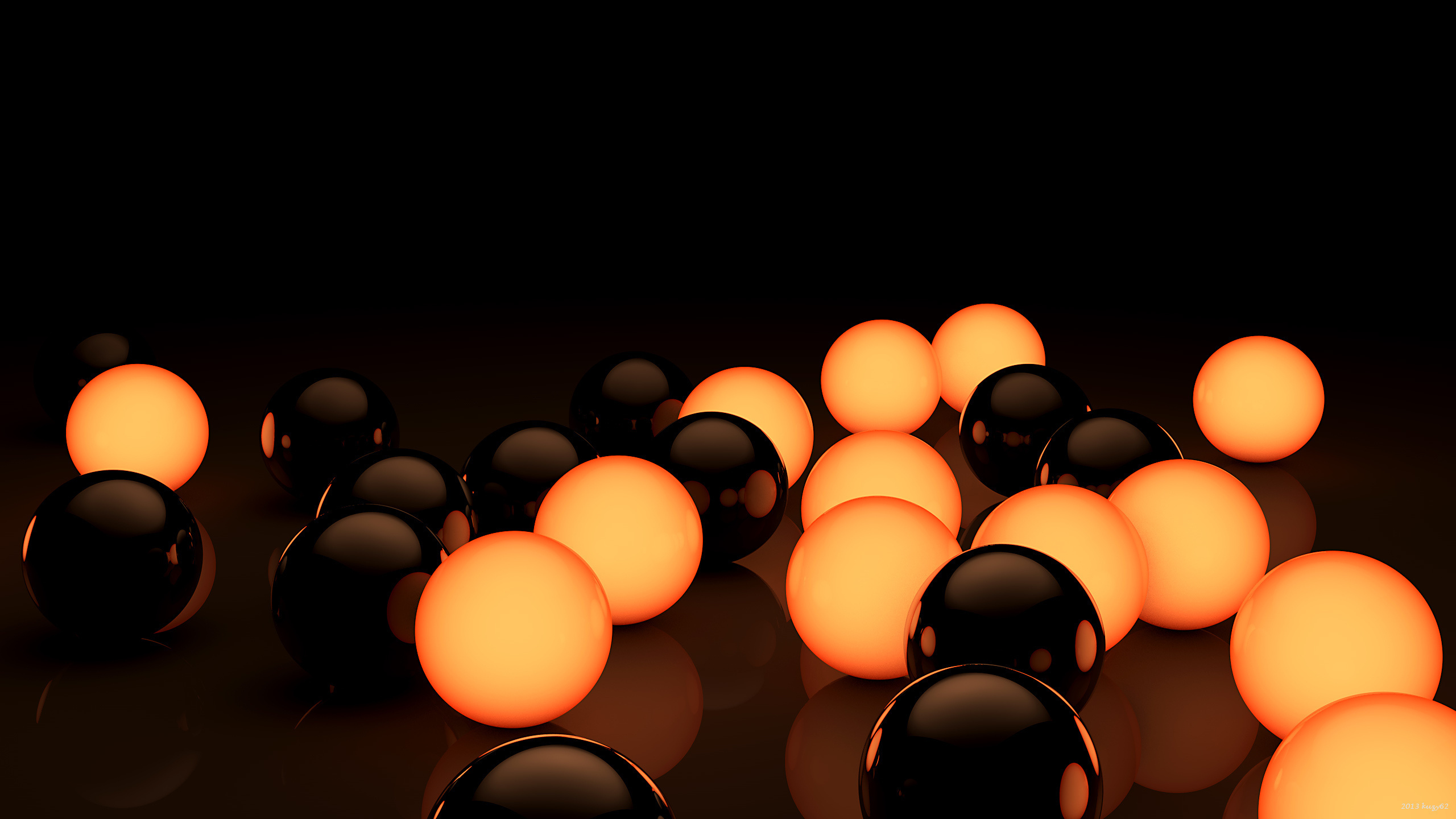 Black-and-Orange-Balls-3D-Wallpaper1