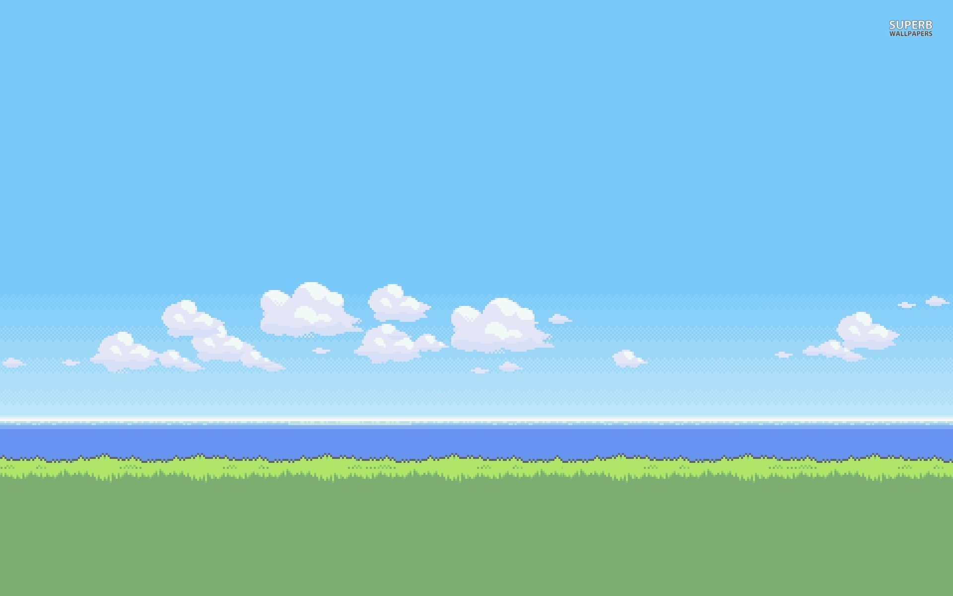 8 bit serene beach wallpaper 1920x1200