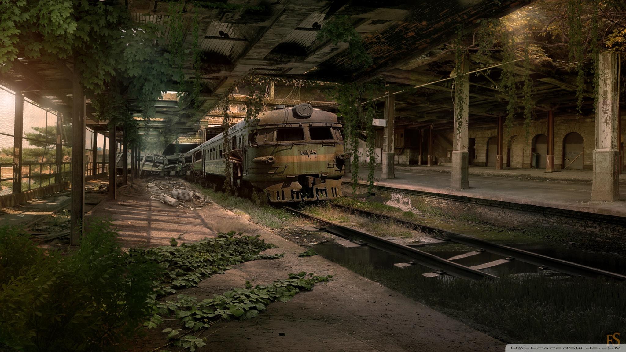 Abandoned Train Station Wallpaper