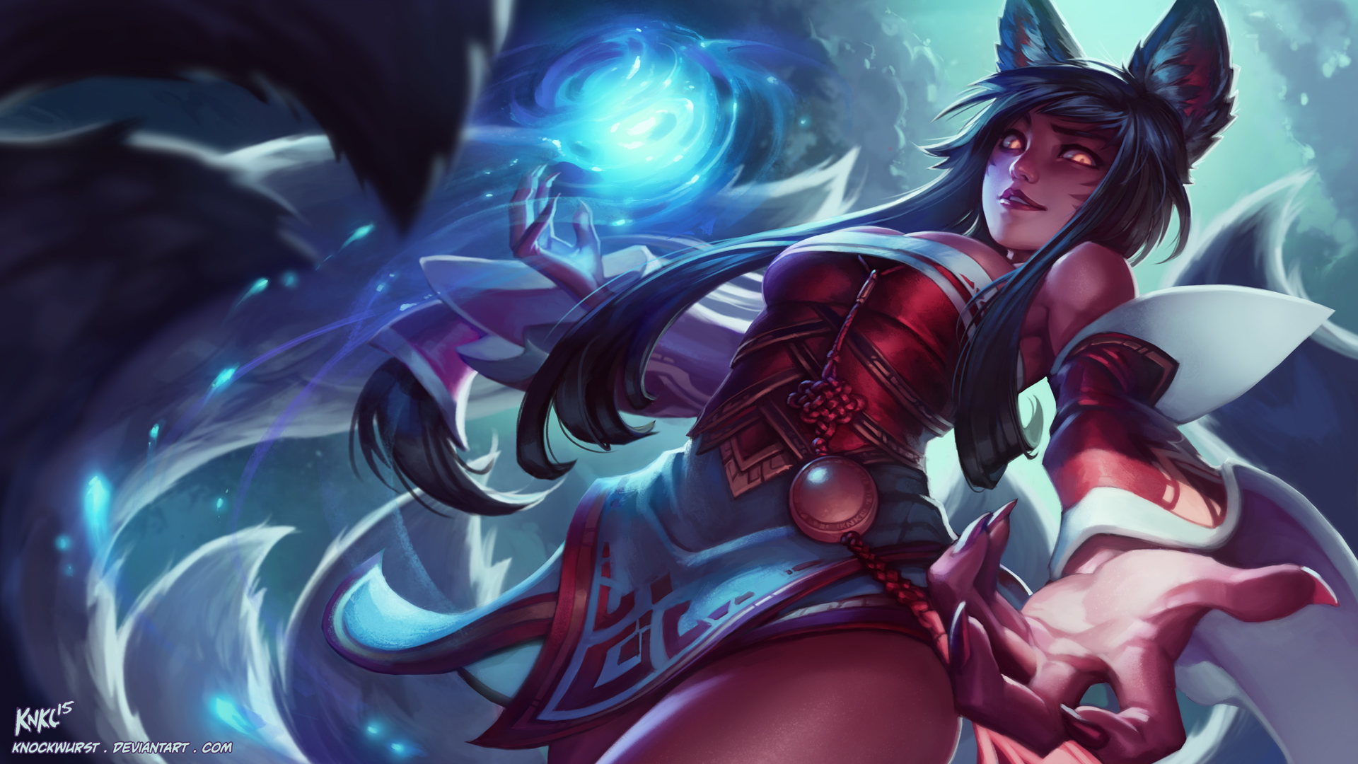 Ahri League Of Legends Art Wallpaper 1920x1080 8862