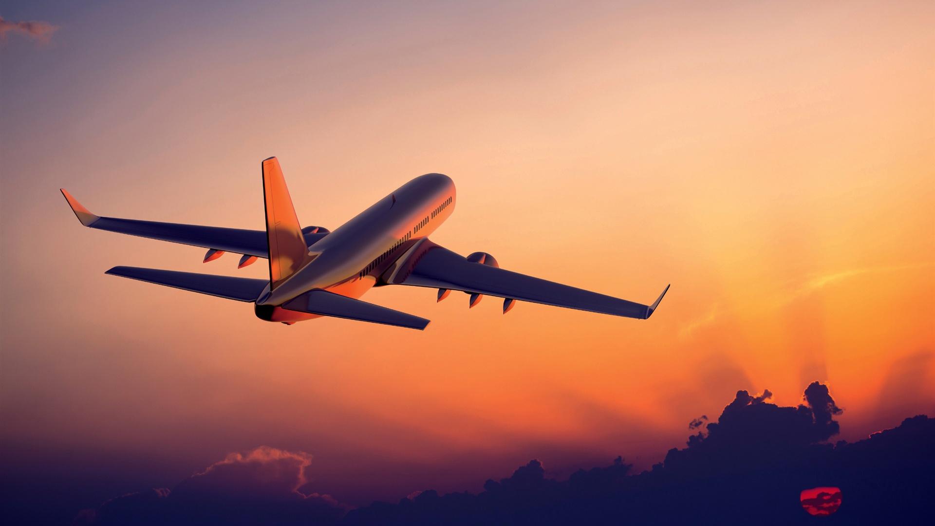 Airplane flight sunset