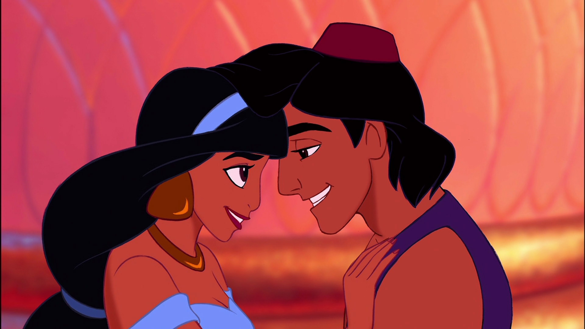 Jasmine and Aladdin officially get together.