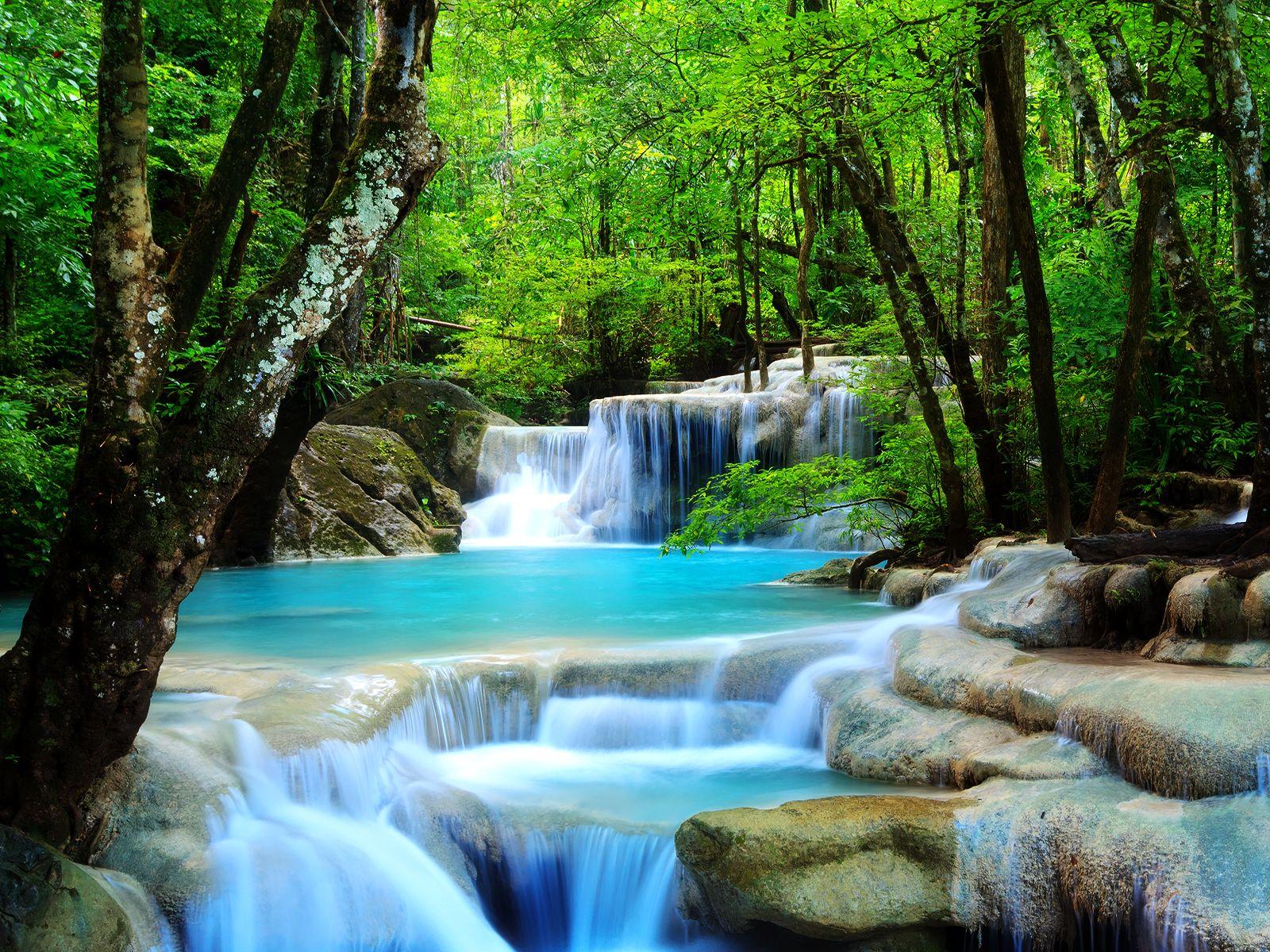 Beautiful-Waterfall. Rainforest Waterfall Wallpaper 01