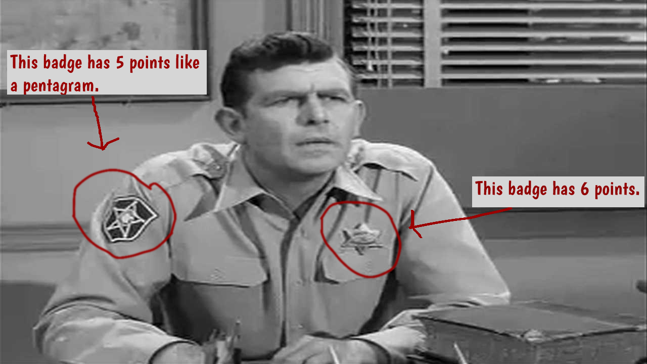 Andy Griffith wearing a pentagram