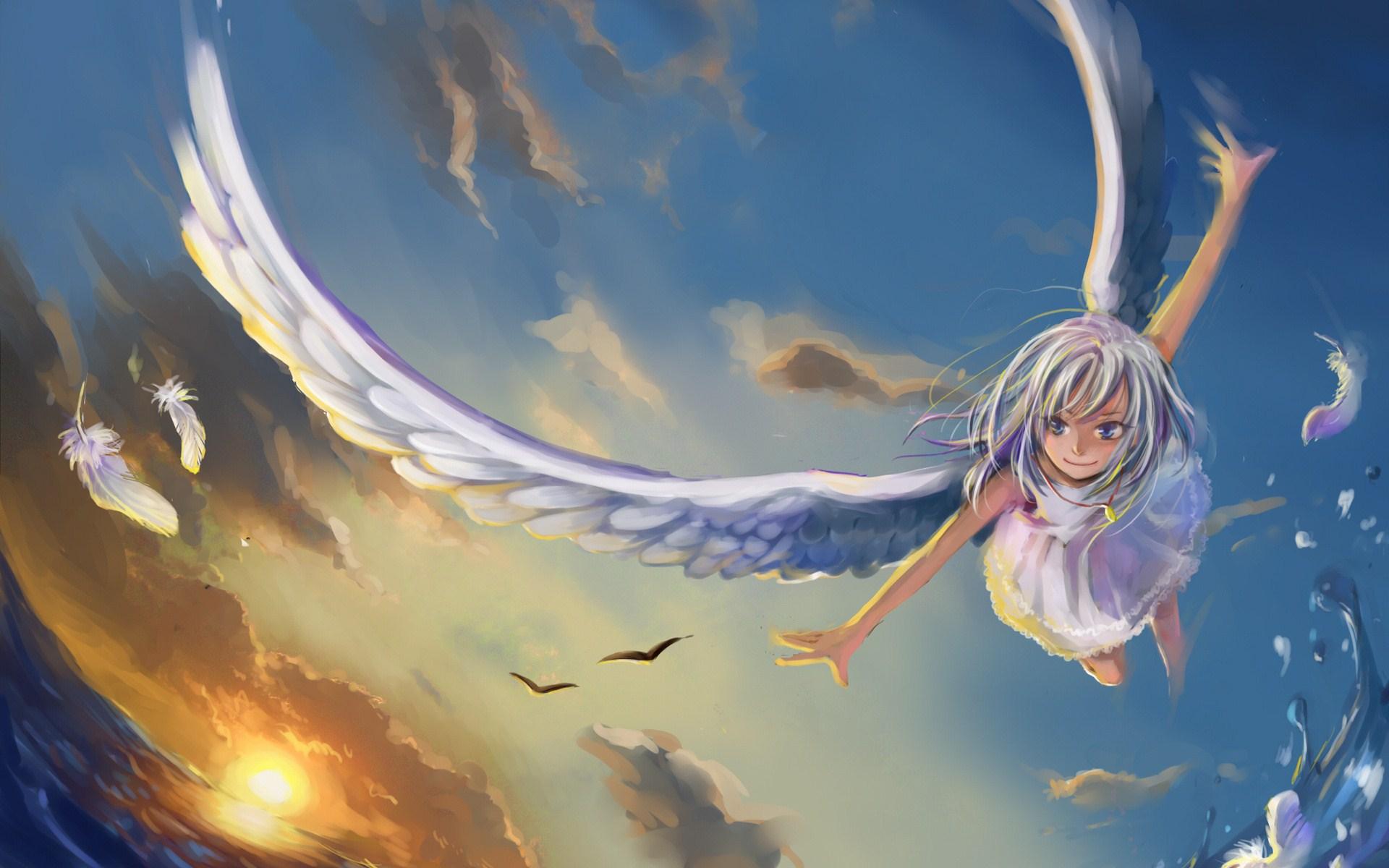 Angel Anime Girl Wings Flight