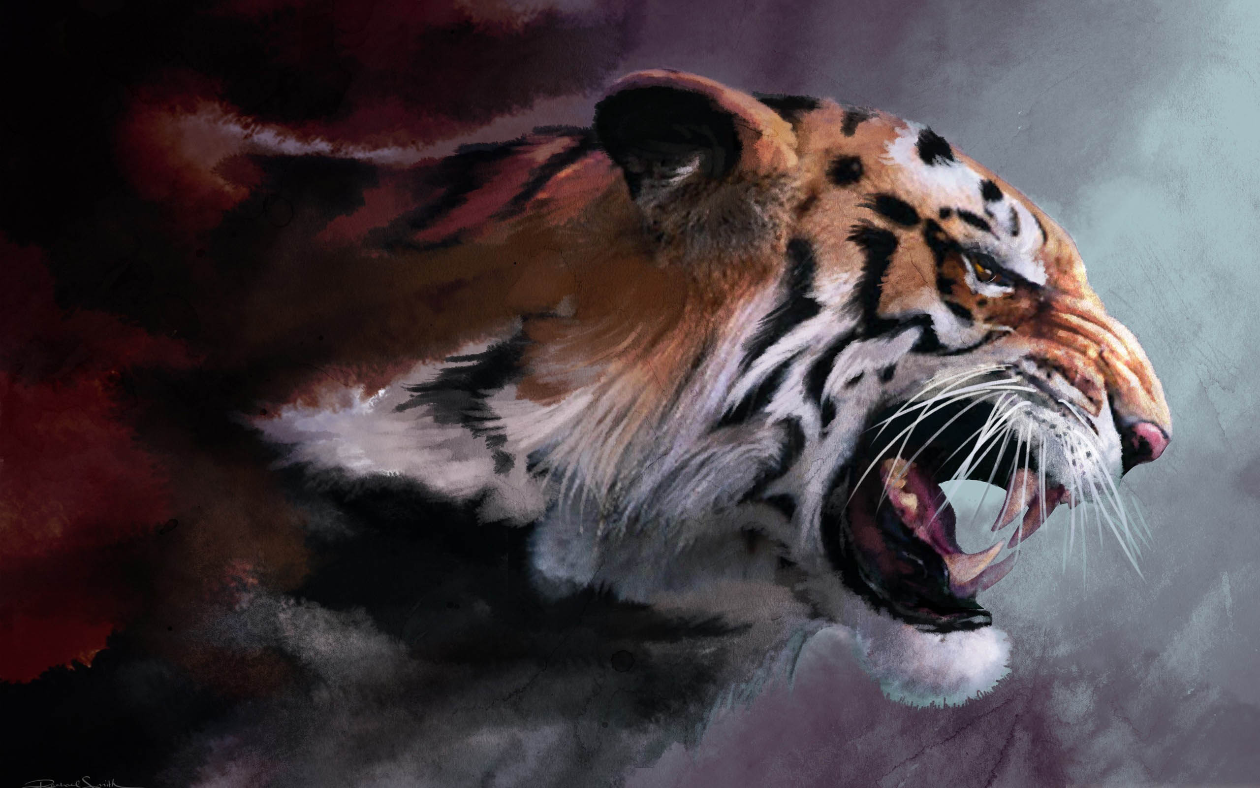 Angry Tiger Painting wallpaper