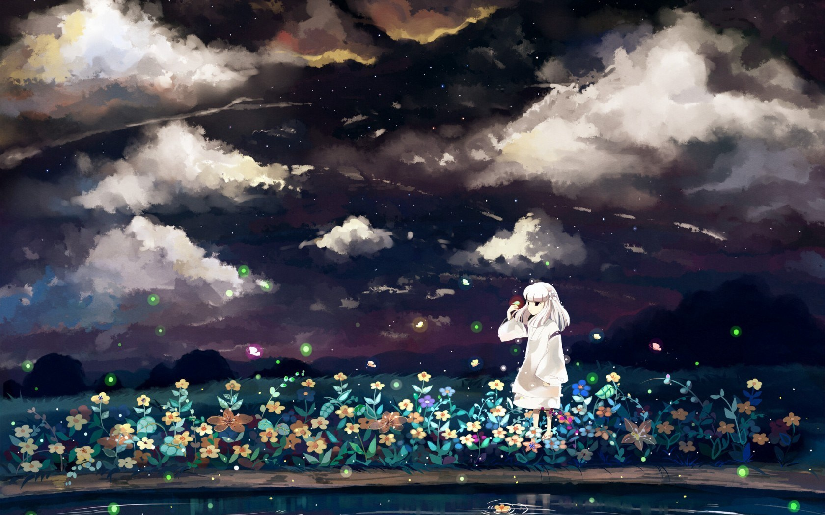 Anime Art Girl Night Flowers Sky