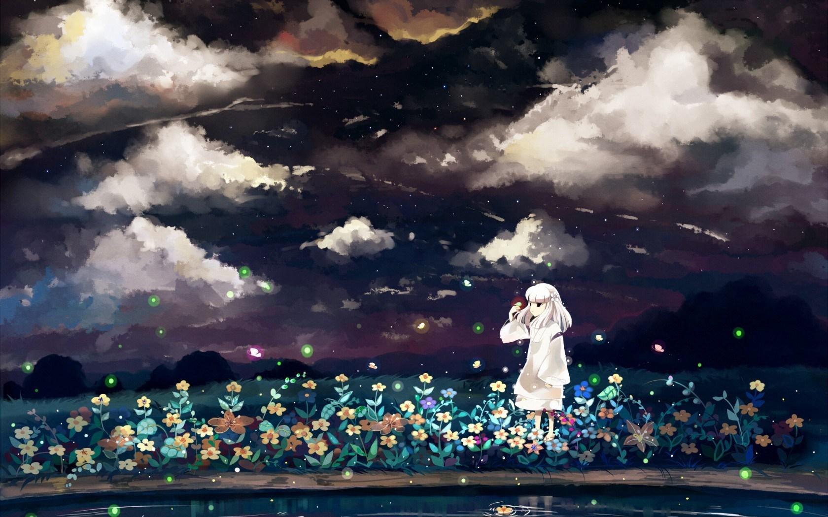 Anime Art Girl Night Flowers Sky