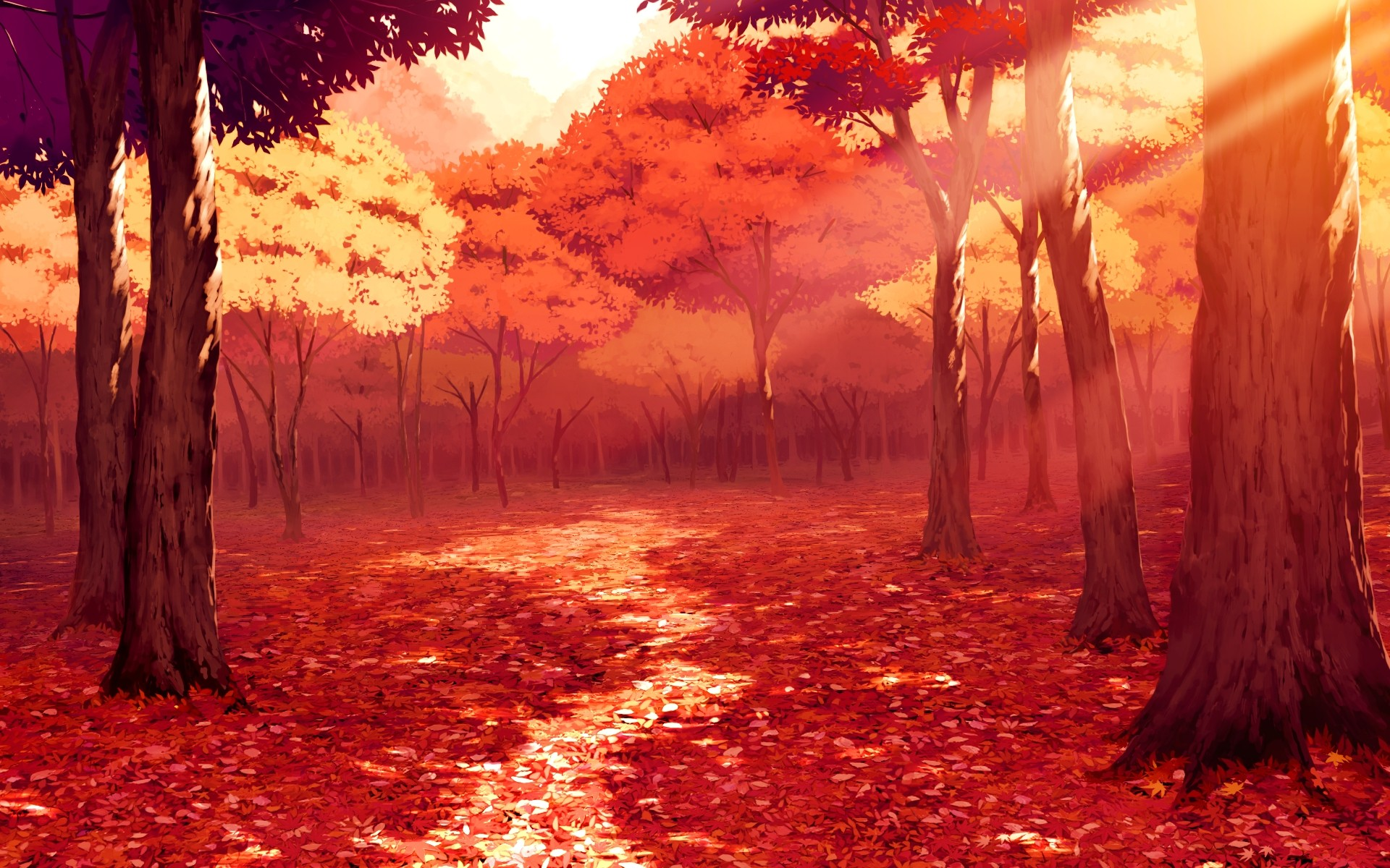 Anime autumn scenery