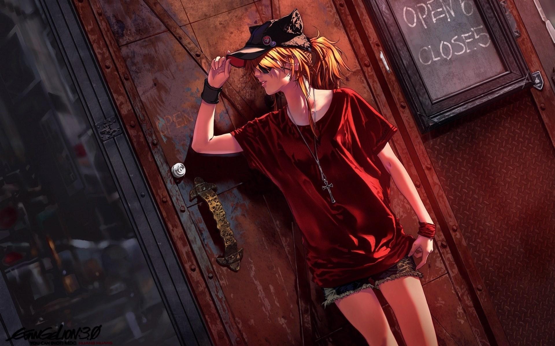 Anime Blonde Girl Hat Shorts