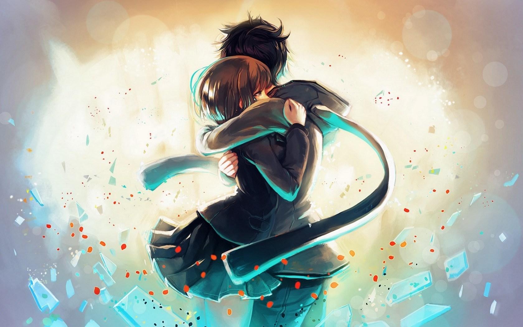 Anime boy girl hug