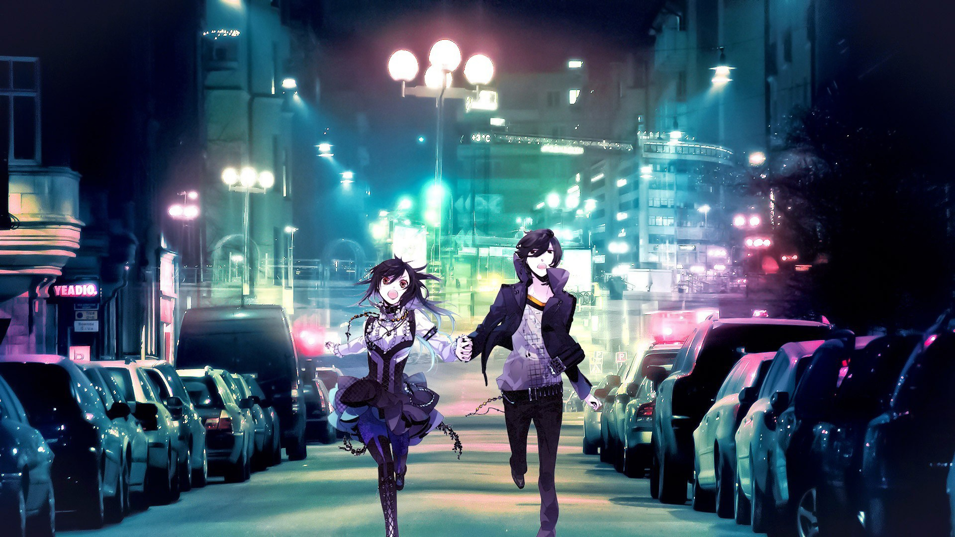 Anime boy girl running city Wallpapers Pictures Photos Images · «
