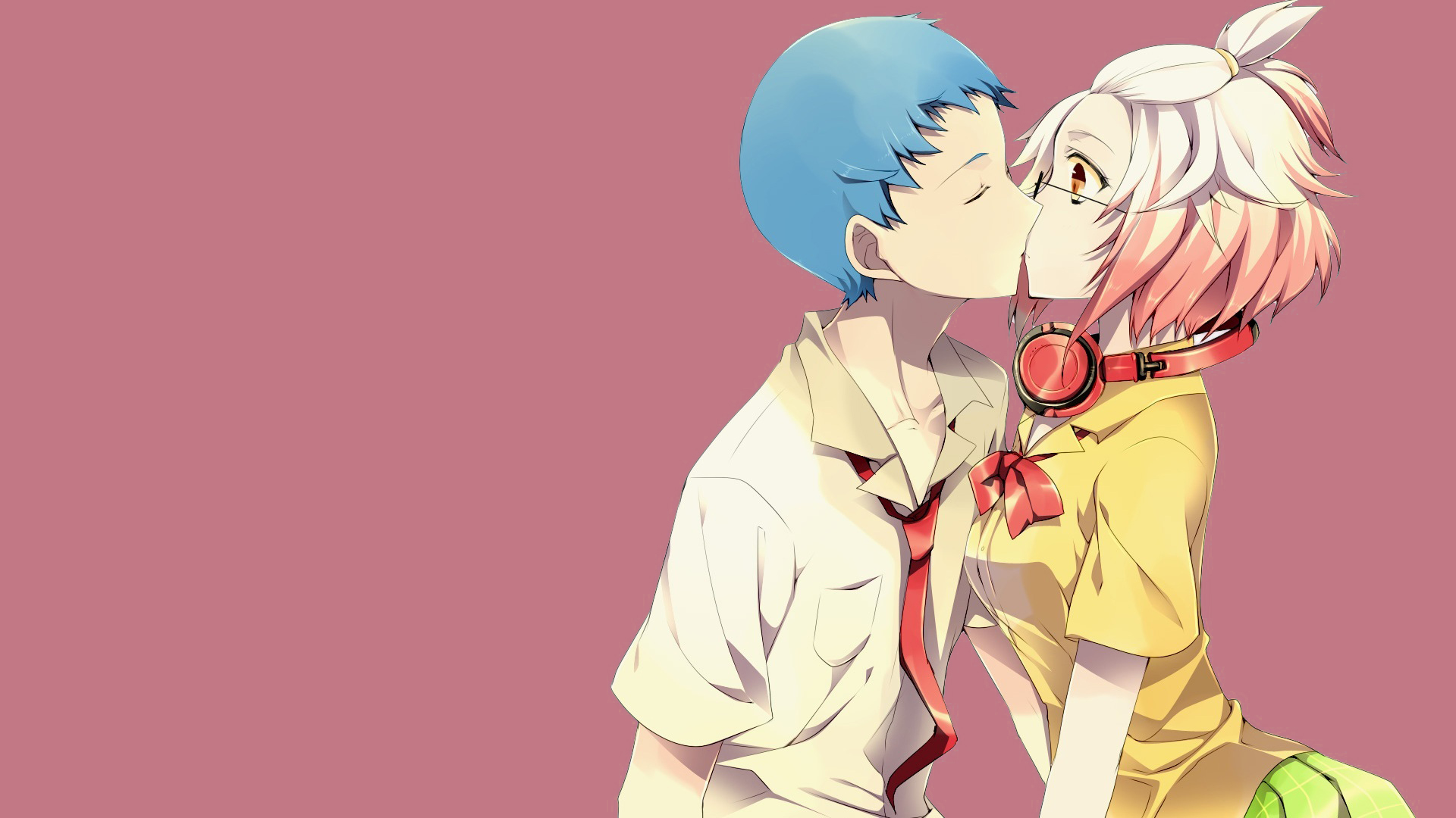 Anime couple surprise kiss
