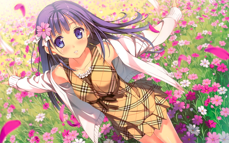 Anime girl flowers field