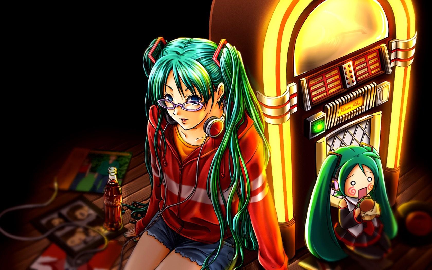 Anime Girl Hatsune Miku Headphones Coca-Cola Jukebox