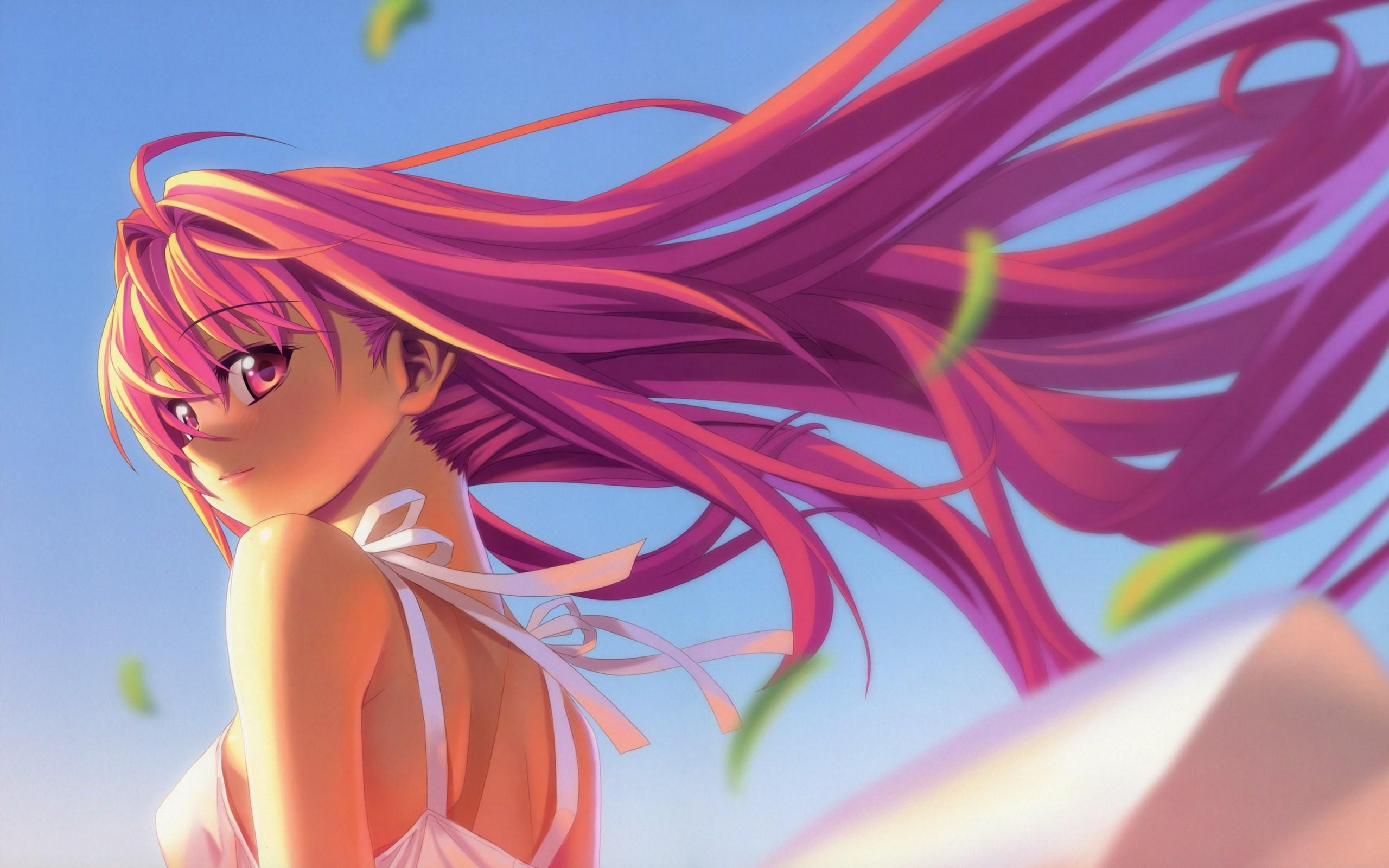 Anime girl pink hair