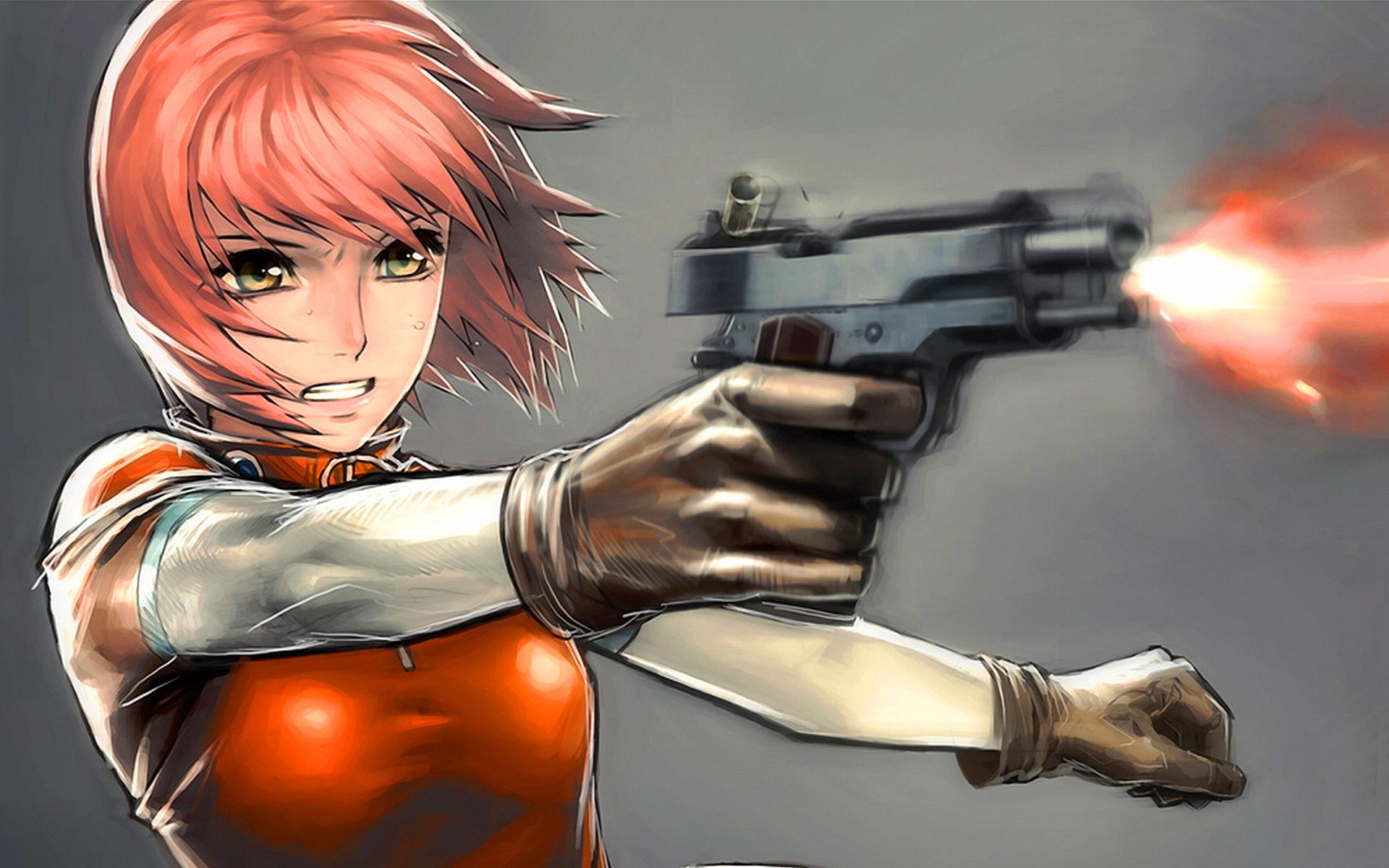 Anime girl shooting