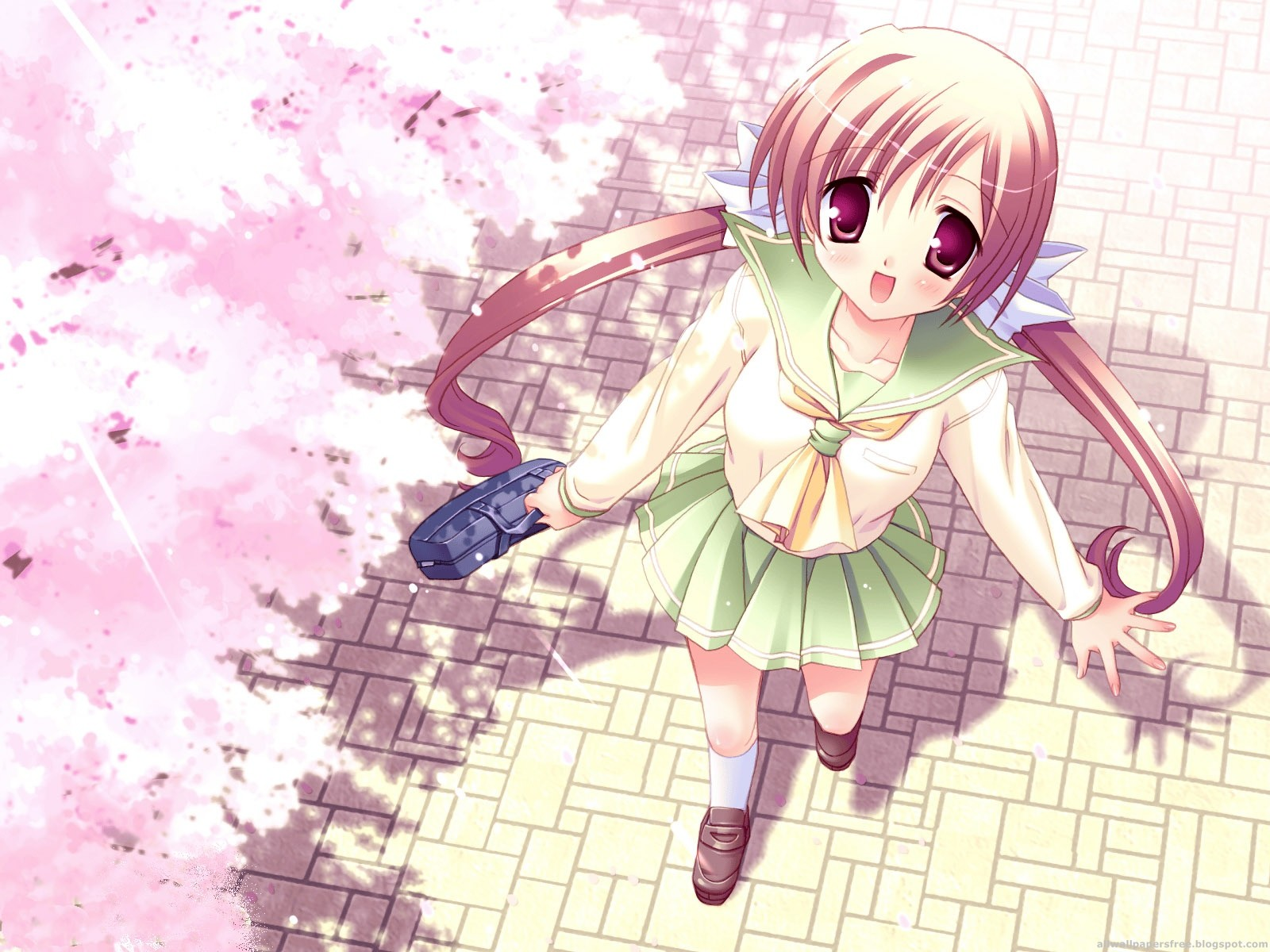 Anime girl spring blossoms
