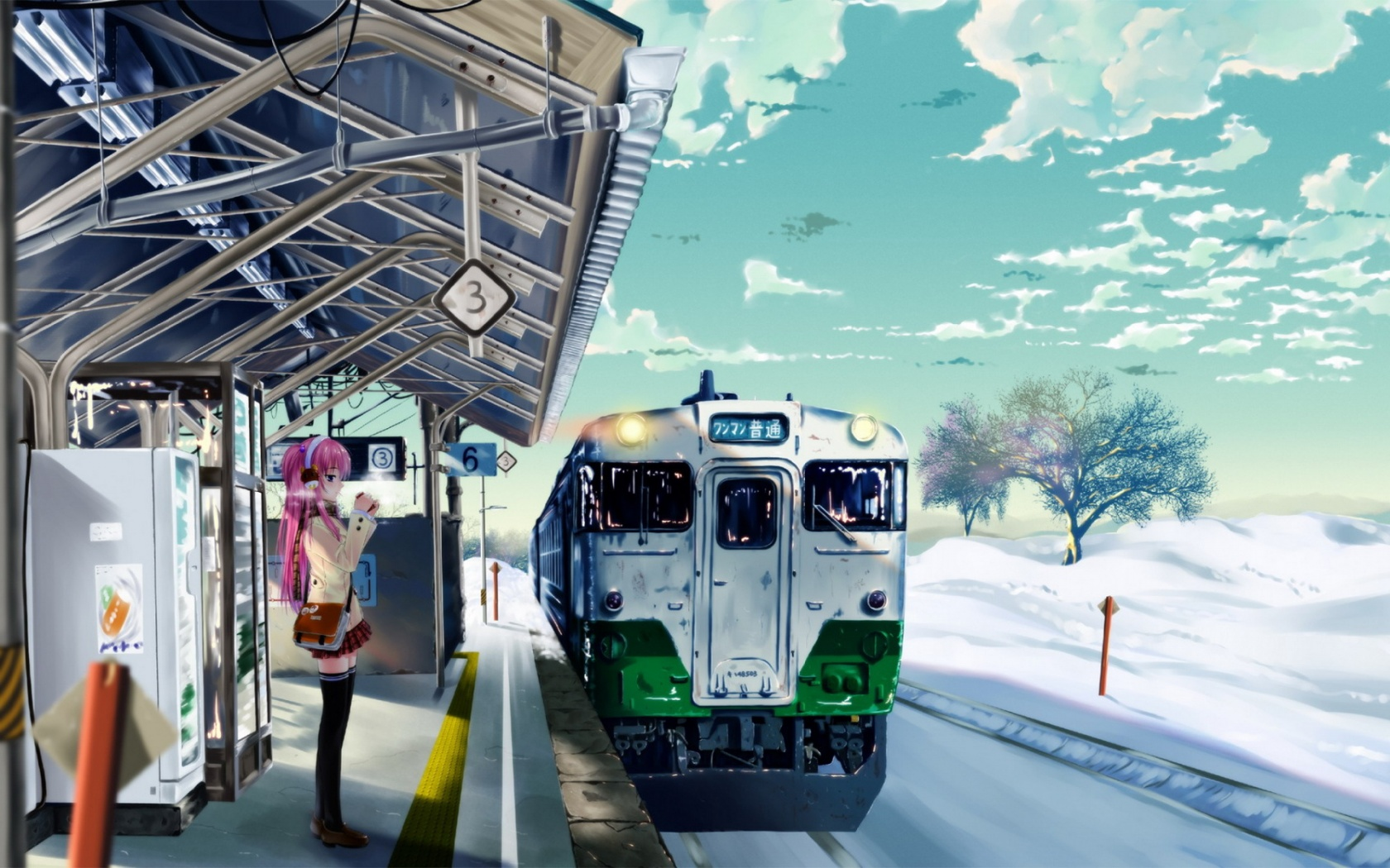 Anime girl trainstation winter Wallpaper in 1680x1050 Widescreen