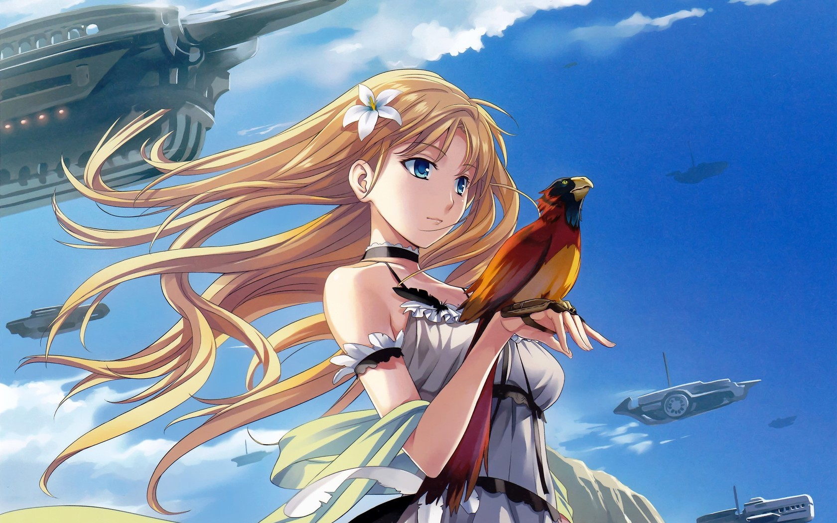 Anime girl with bird