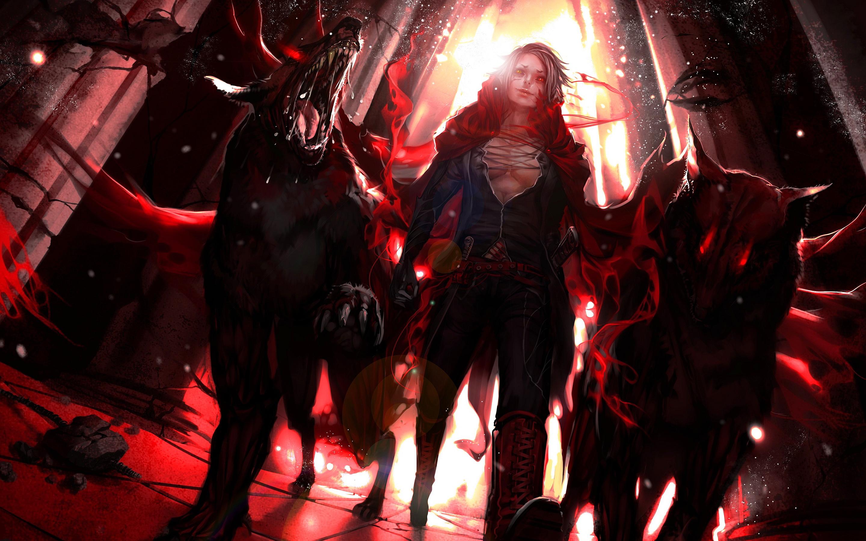 Anime girl with hellhounds
