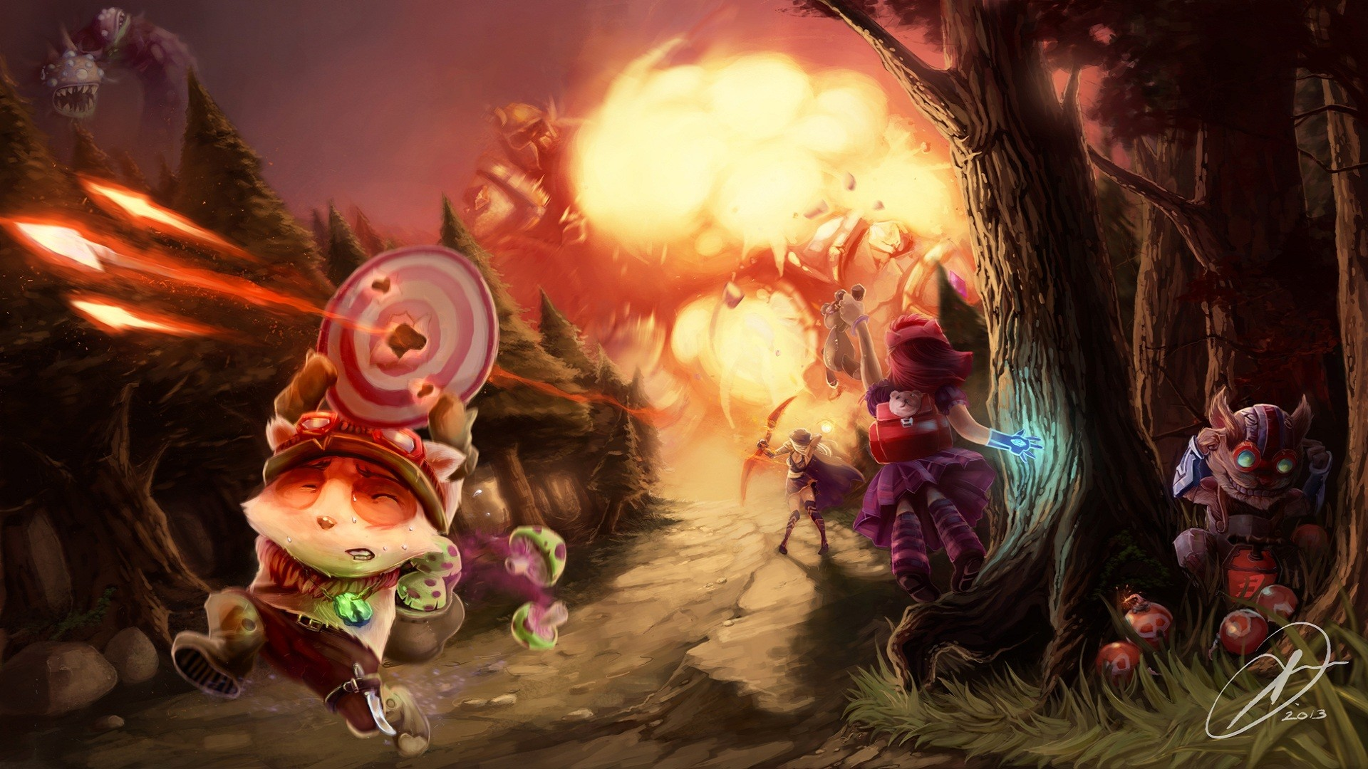 League of Legends · Teemo · Ziggs · Annie · Ashe · Digi-Art Throwdown Contest