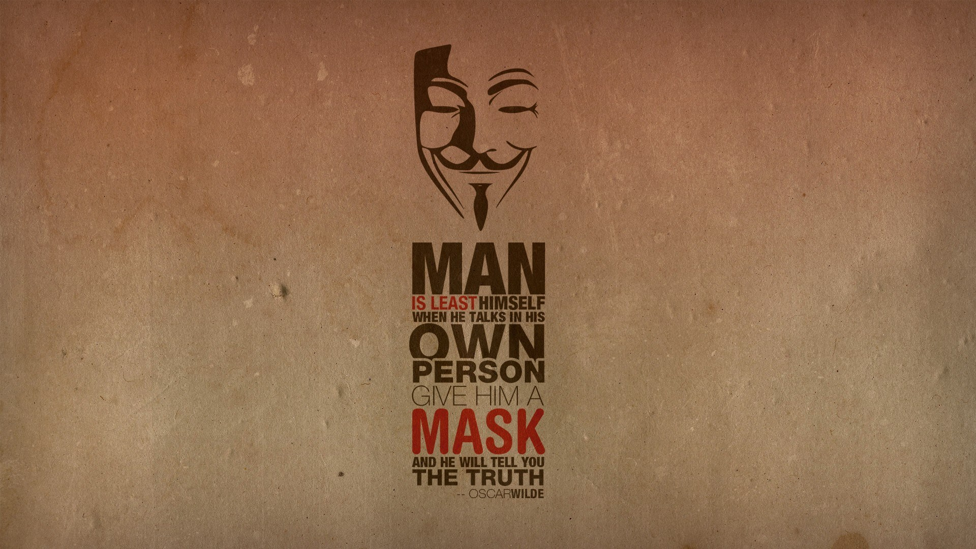 Anonymous Text Quotes Mask Oscar Wilde Typography