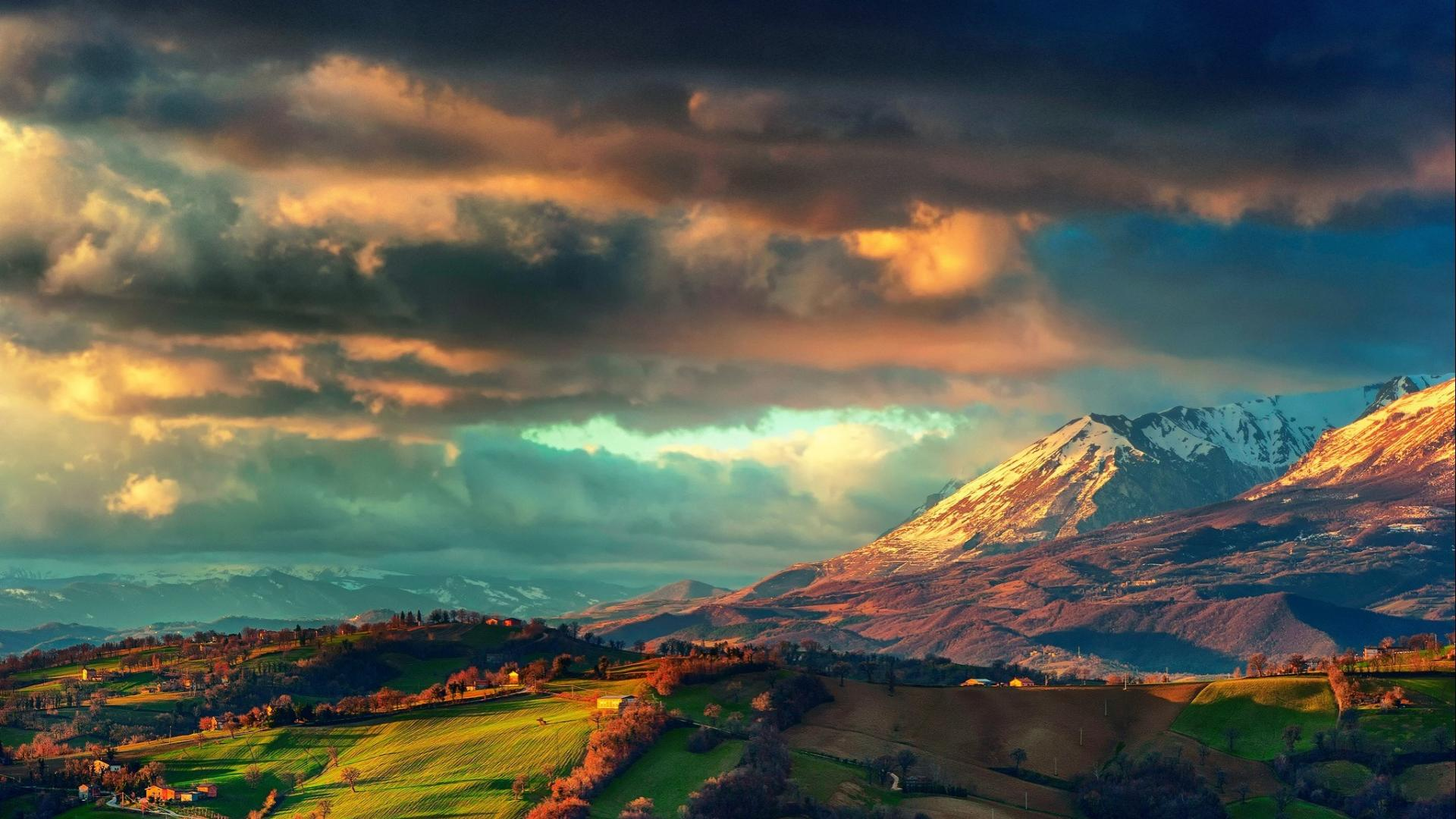 Mountains clouds landscapes europe italy skies the apennines wallpaper