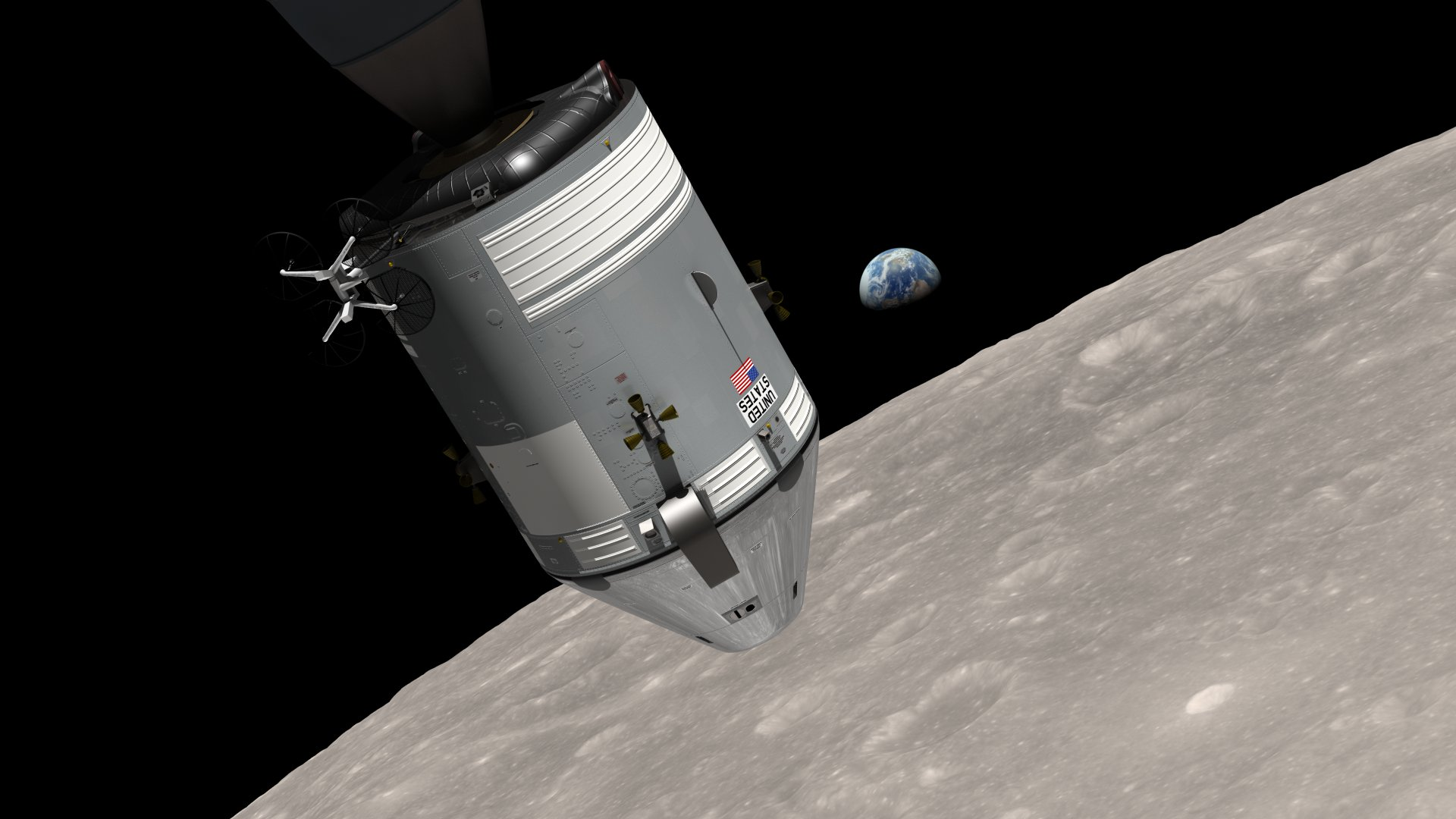 This is a computer-generated visualization of the Apollo 8 spacecraft in orbit around the moon, with Earth rising over the horizon.