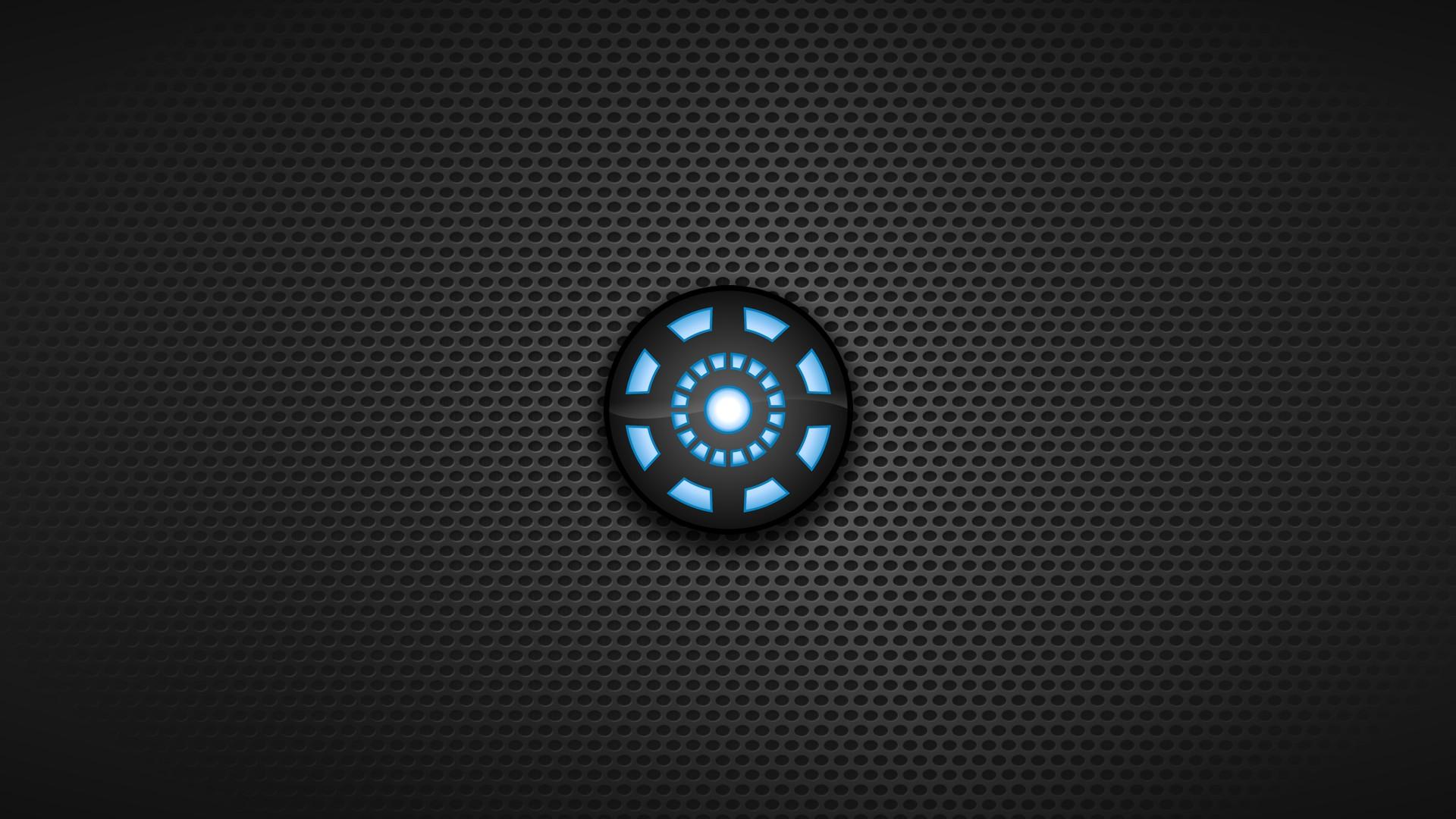 Dark background arc reactor symbols blue seed wallpaper
