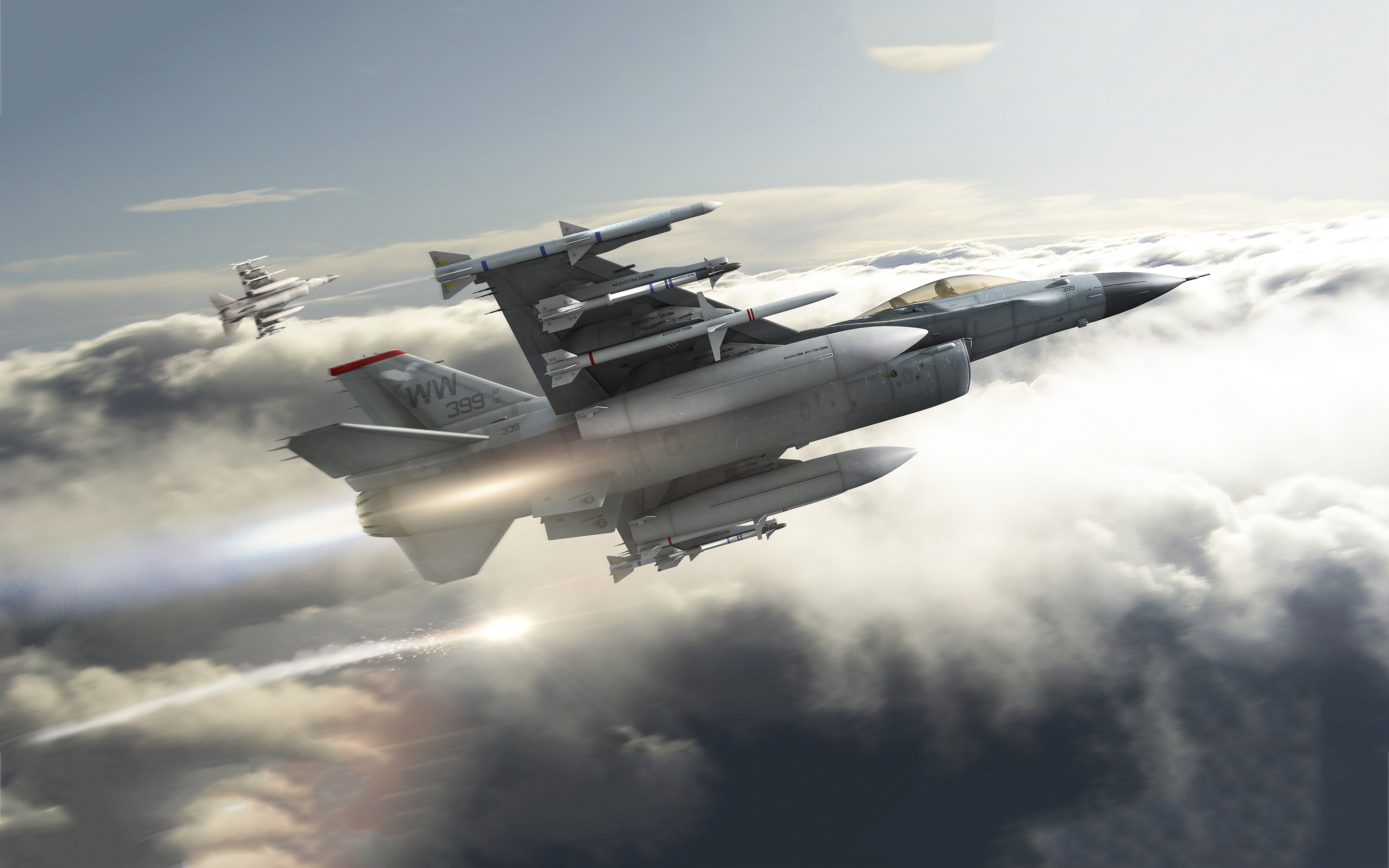 Armed f16 jets