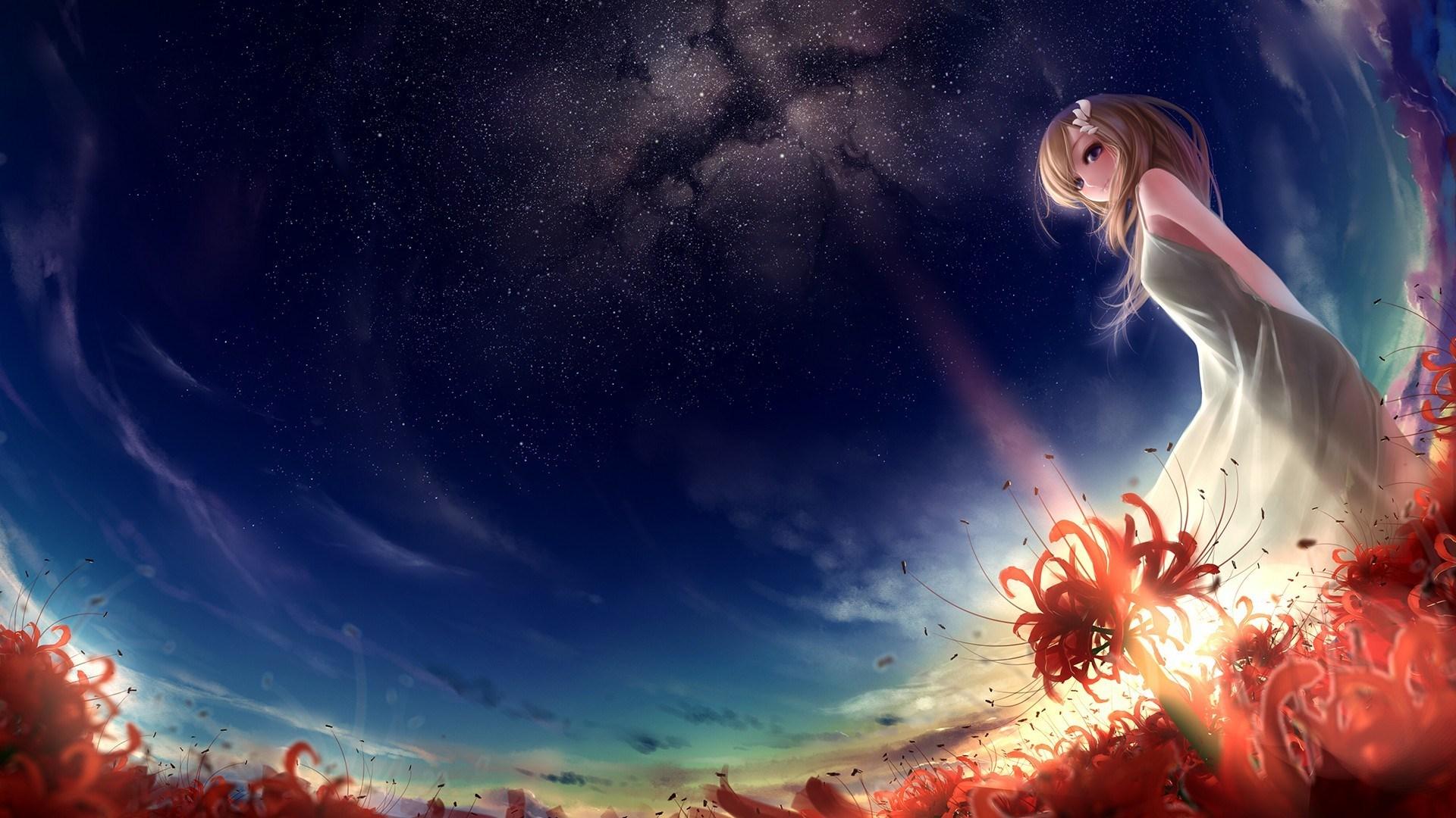 Art Beauty Blonde Anime Girl