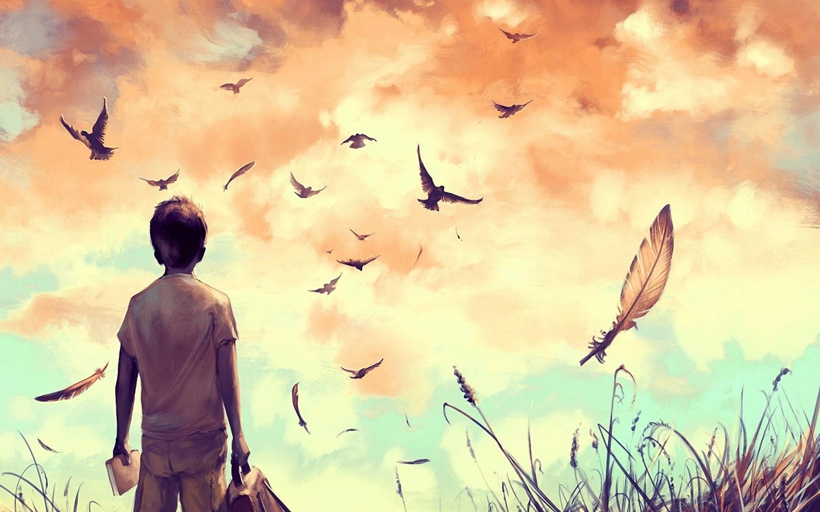 Boy Birds Sky Mood Artwork HD Wallpaper