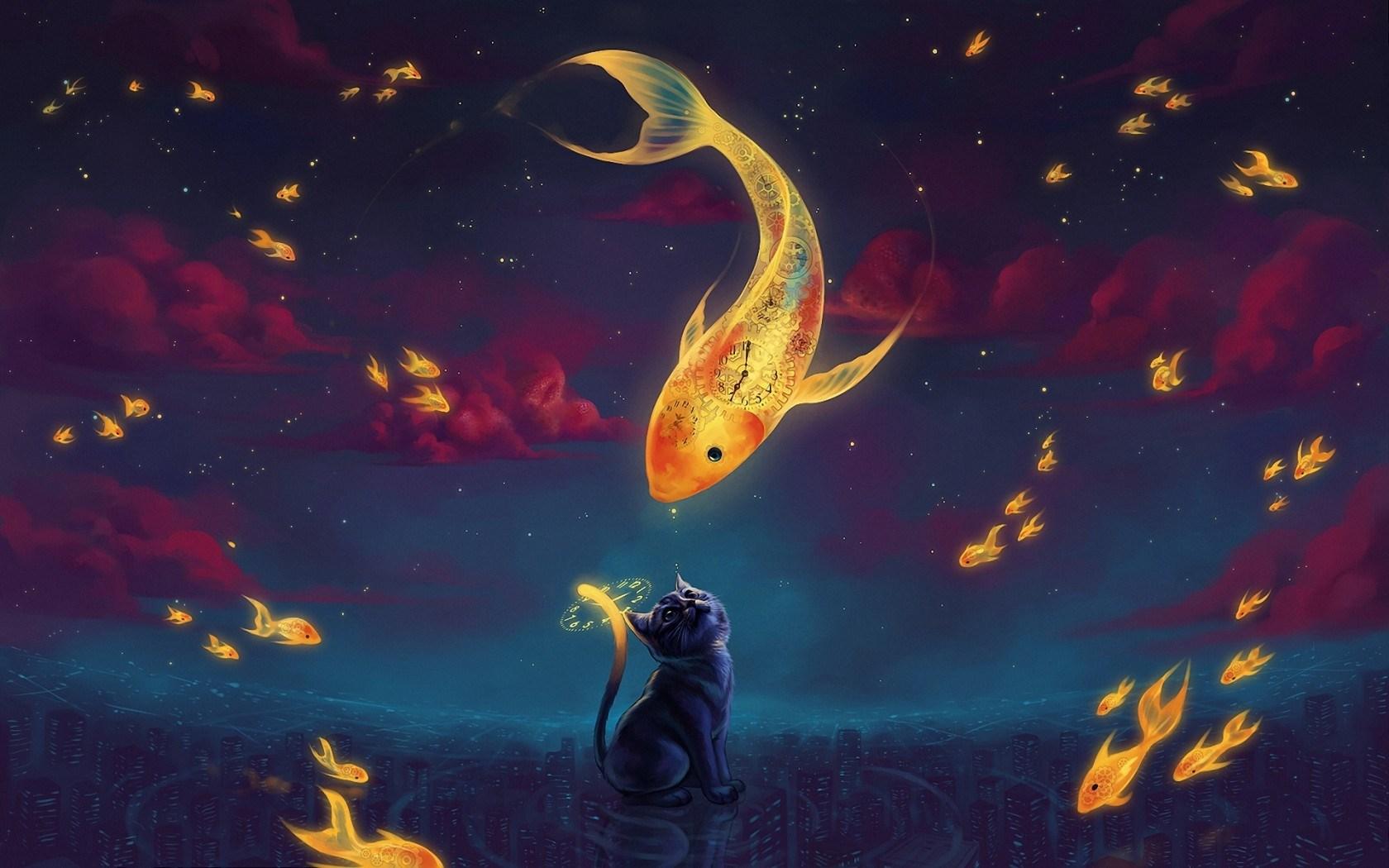 Art Fantasy Goldfish Kitten Night Stars
