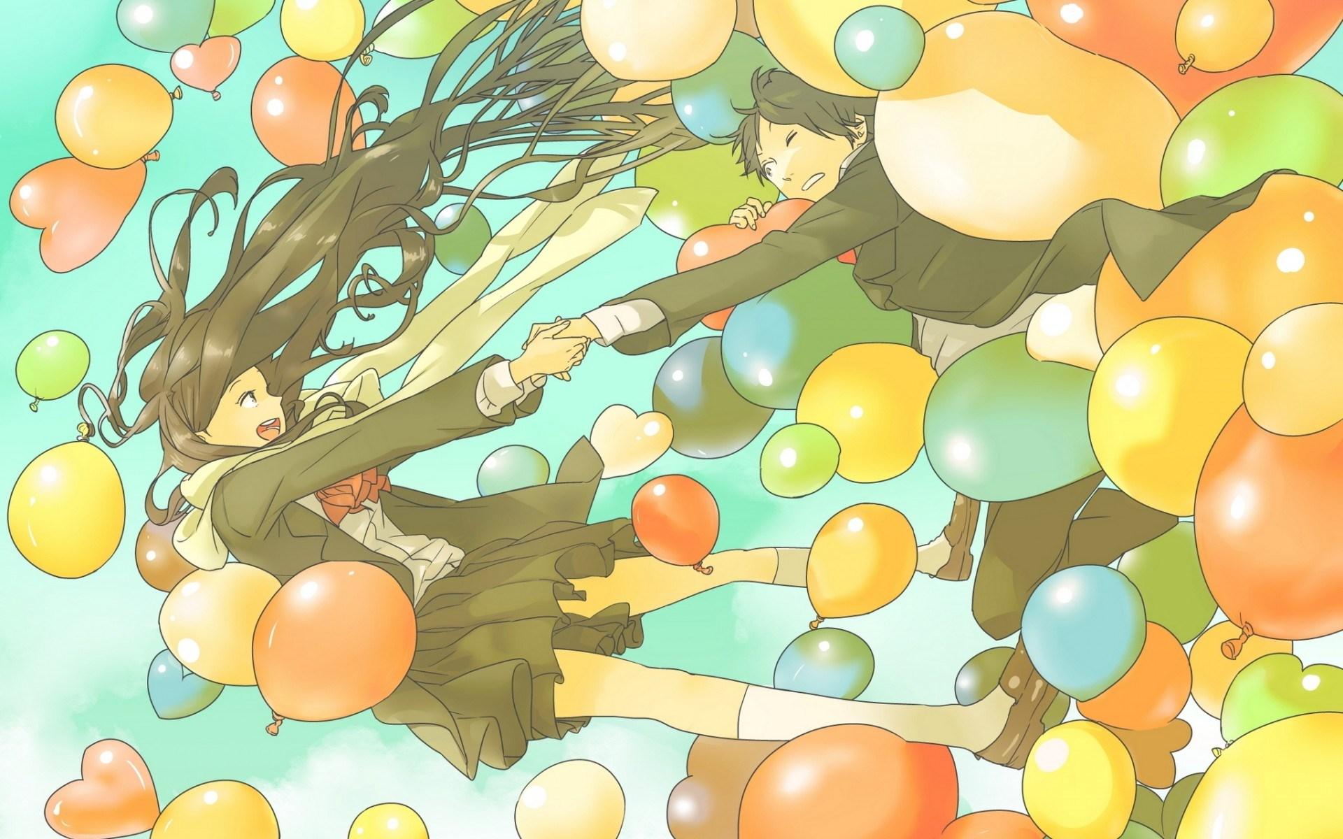 Art Girl Boy Couple Balloons
