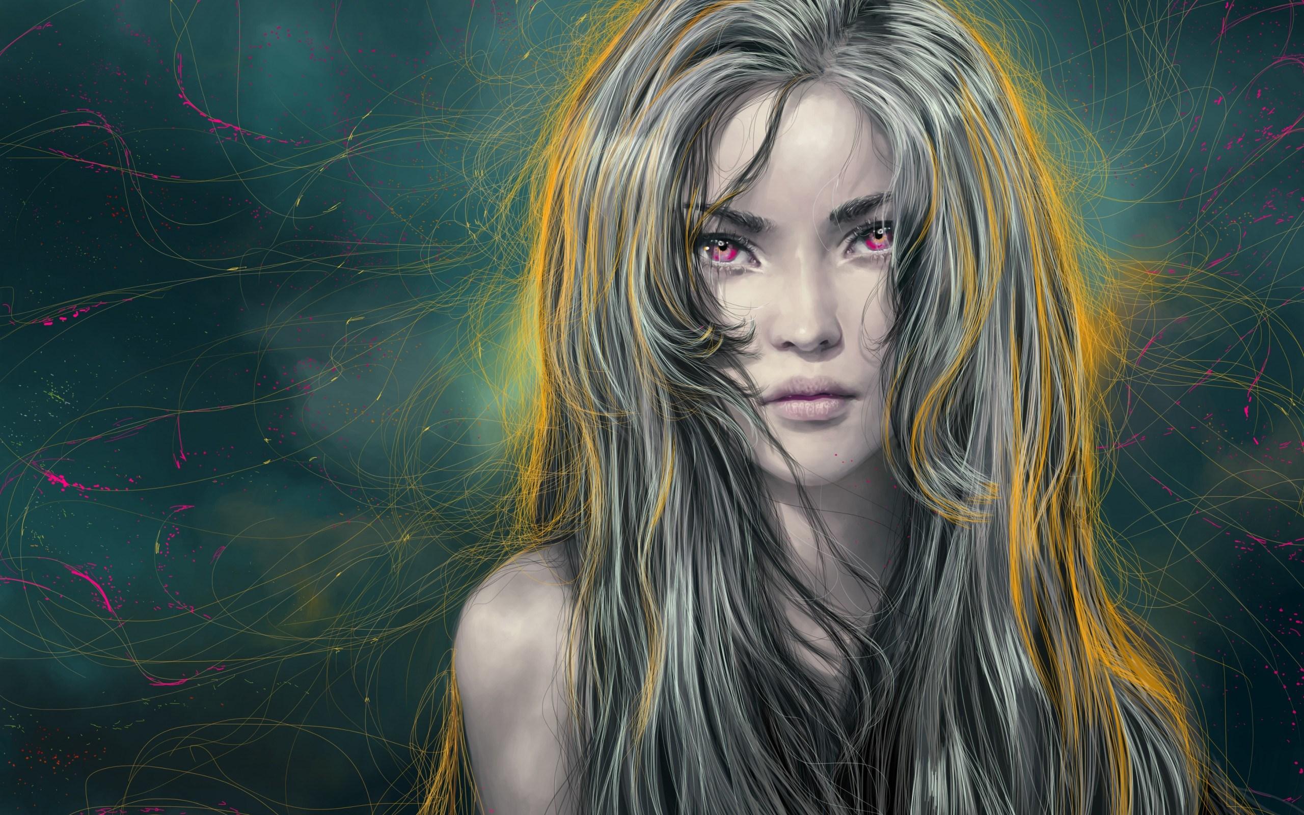 Art Girl Hair Blonde Face