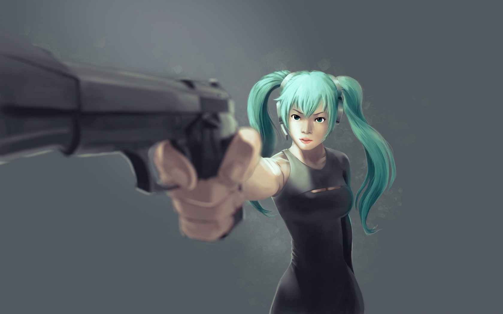 Art Girl Hatsune Miku Gun Anime