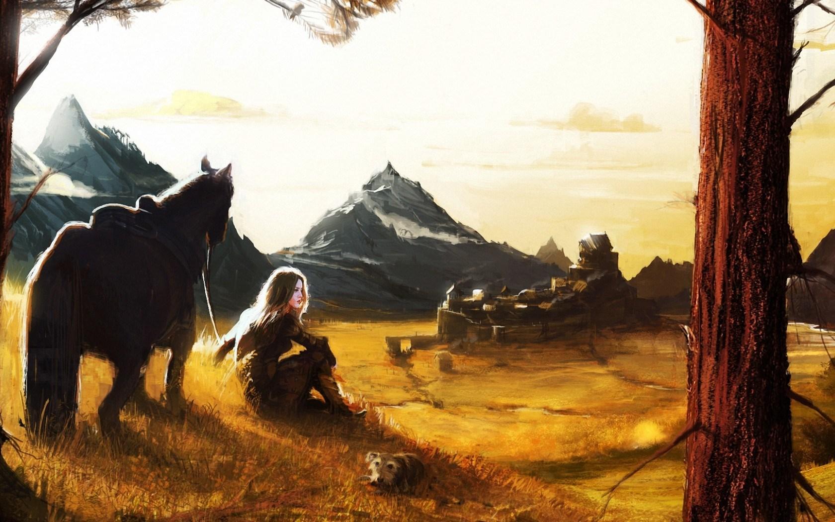 Art Girl Horse Dog Mountain Village