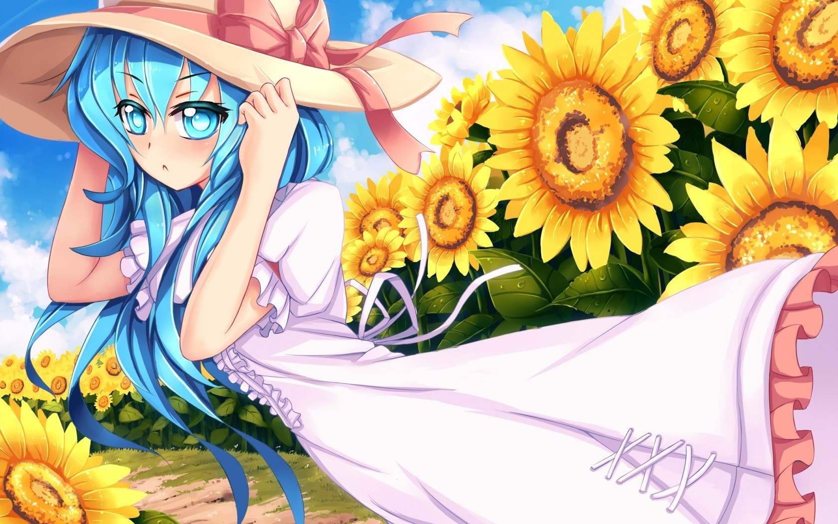 Art Girl Look Hat Wind Field Sunflowers Anime