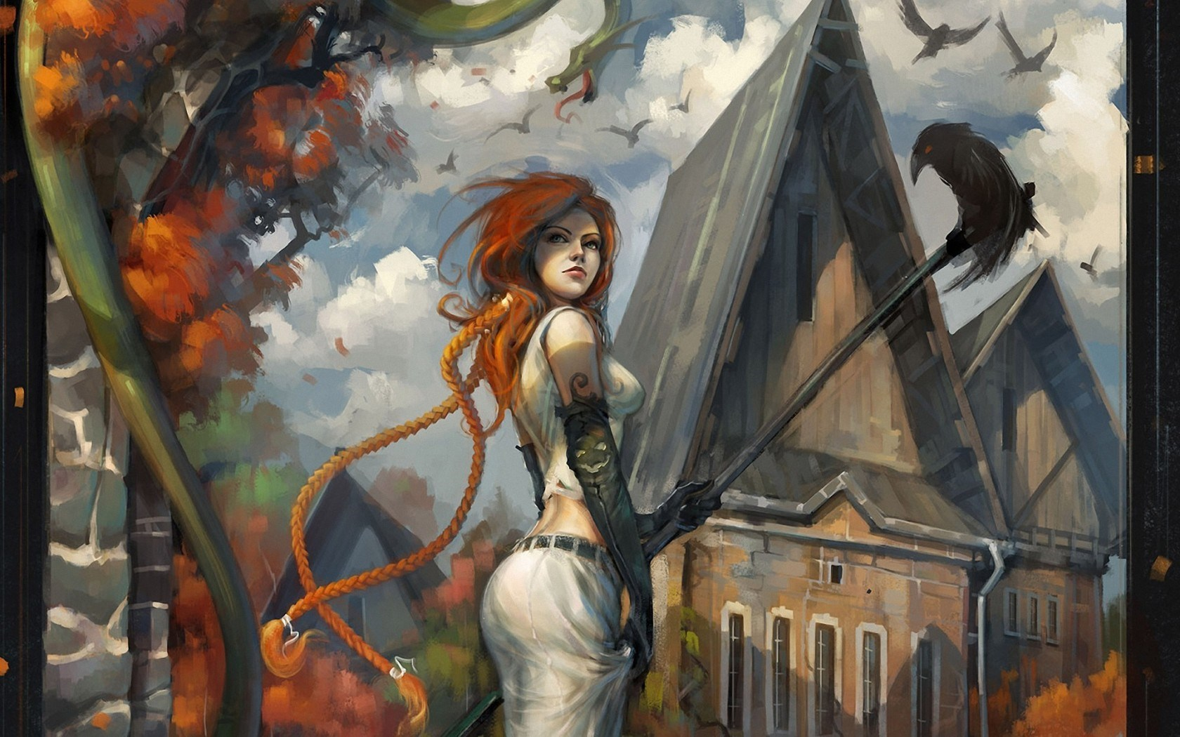 Art Girl Redhead Autumn Crows Buildings City