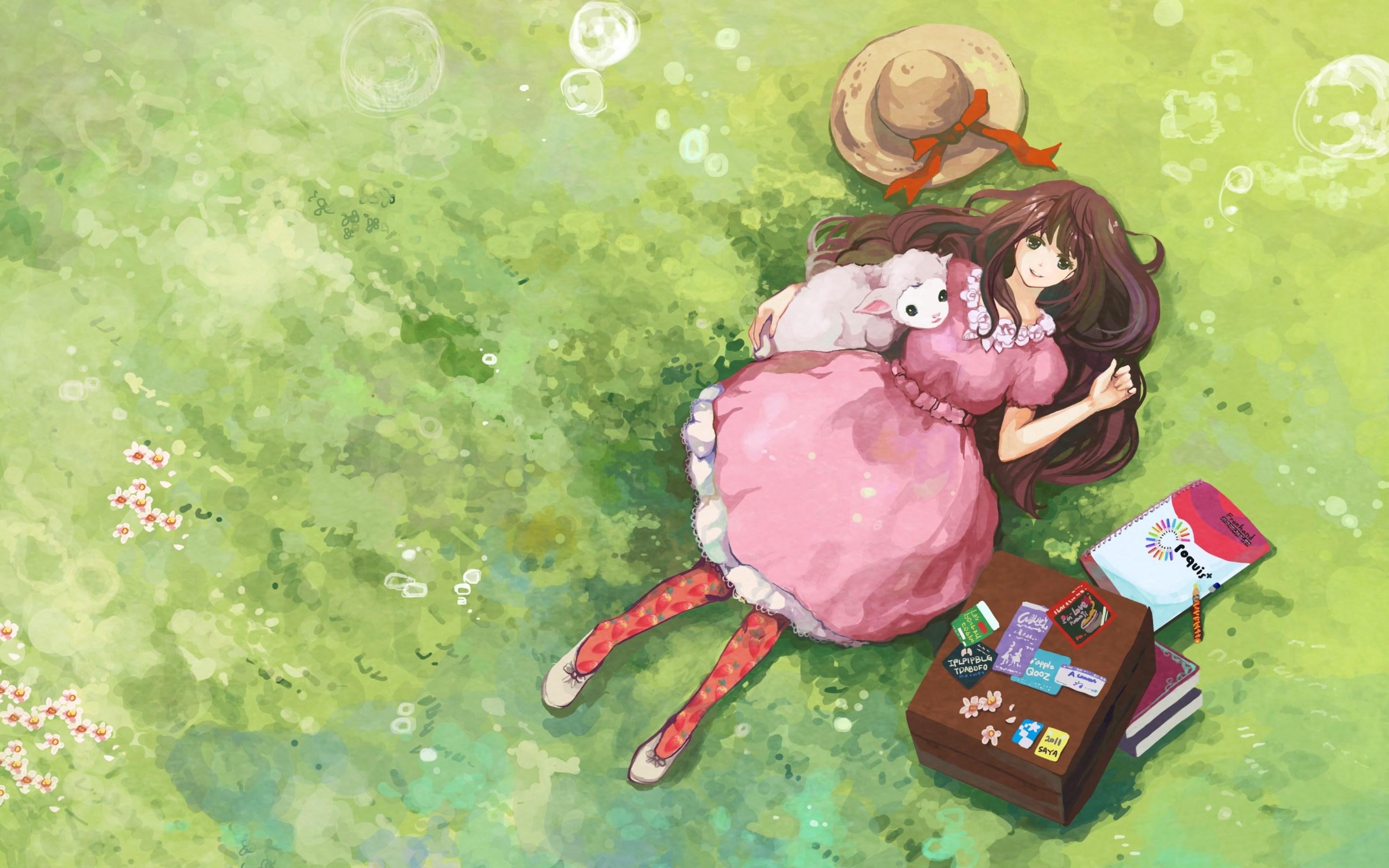 Art Girl Smile Sheep Anime