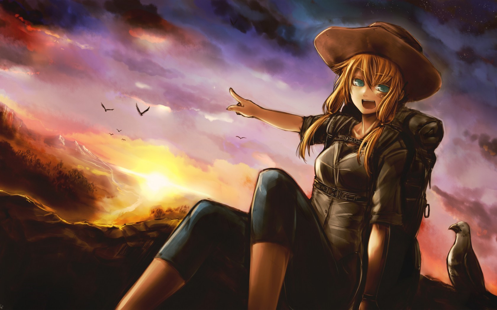 Art Girl Sunset Anime