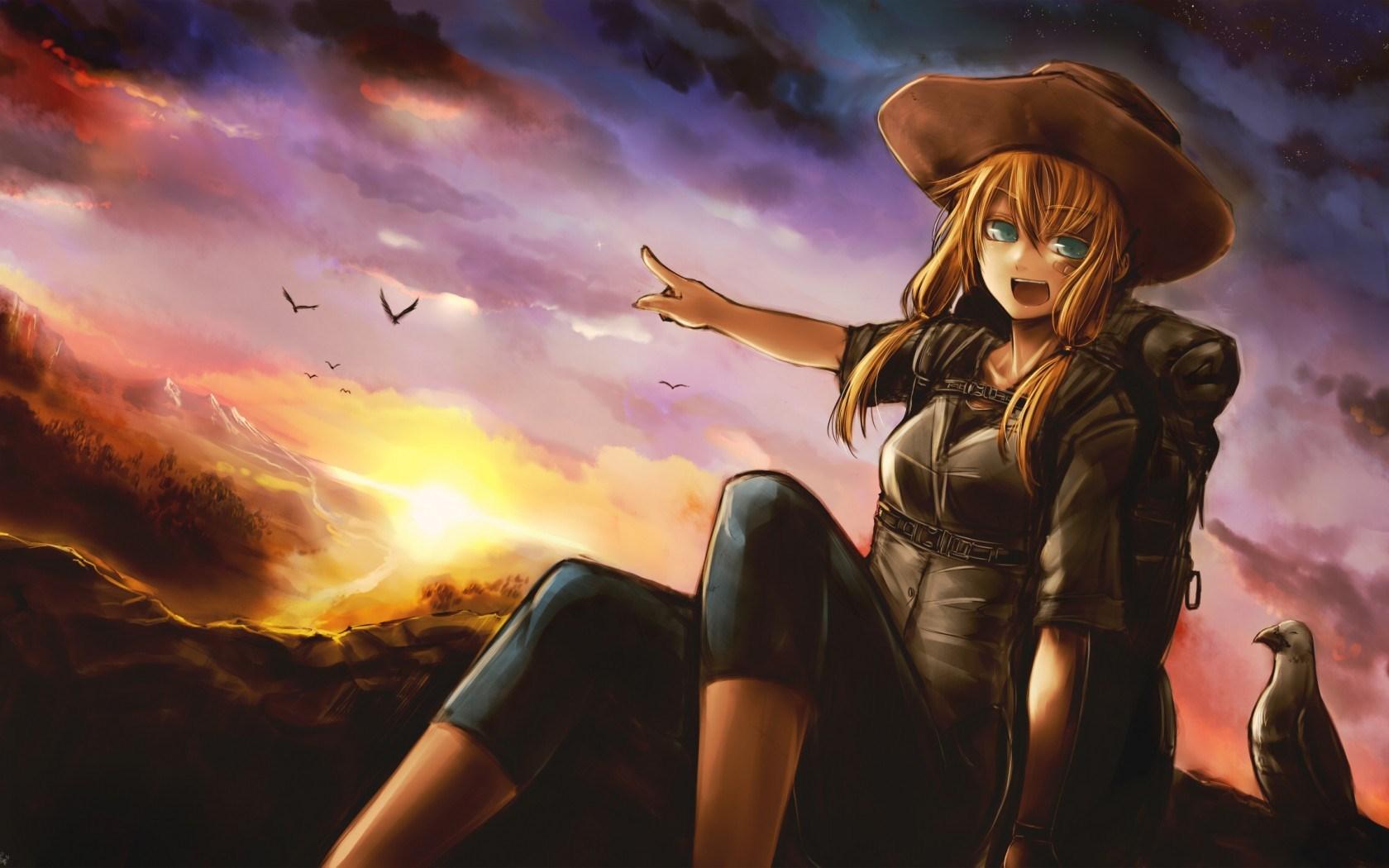 Art Girl Sunset Anime