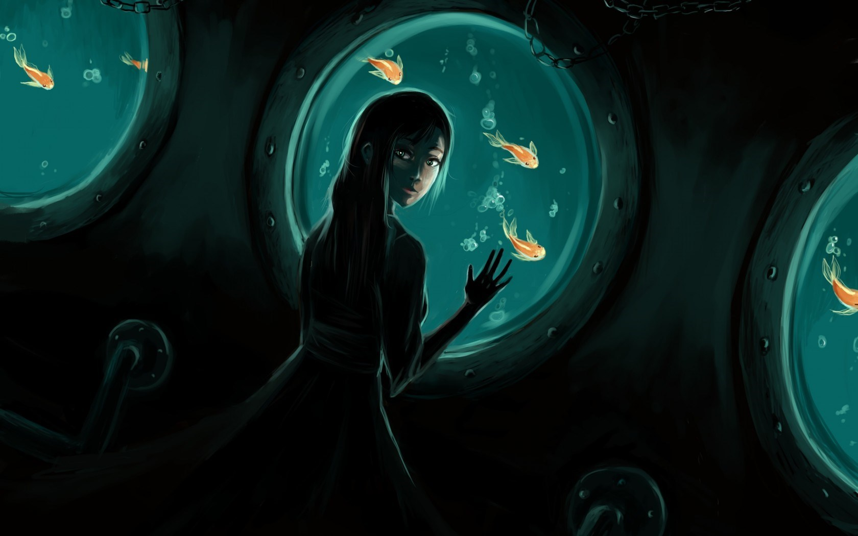 Girl Underwater Fish Artwork HD Wallpaper