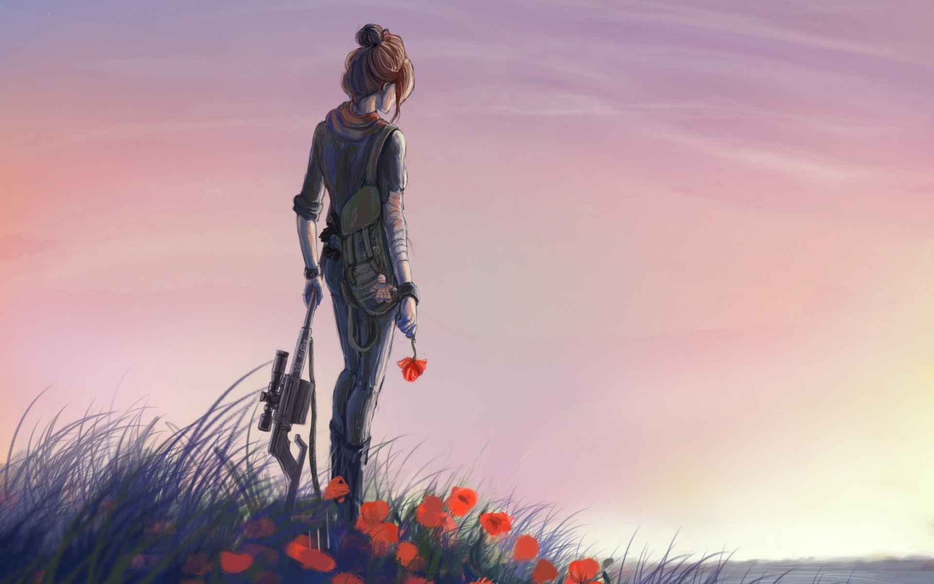Art Girl Weapon Flowers Red Poppies Meadow