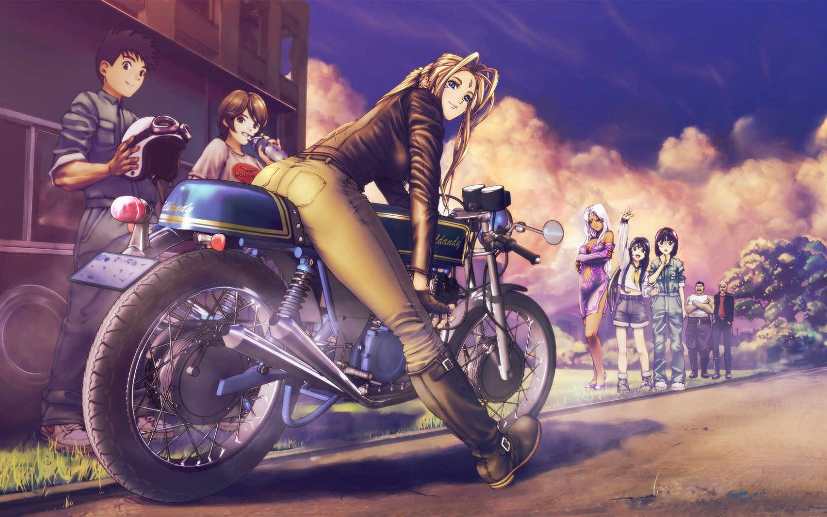 Art Girls Boys Bike Street Anime